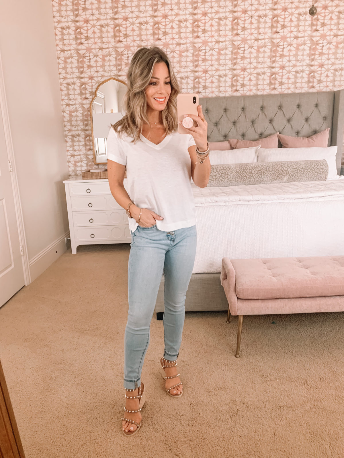 Dressing Room Finds, Tee, Jeans, Studded Sandals
