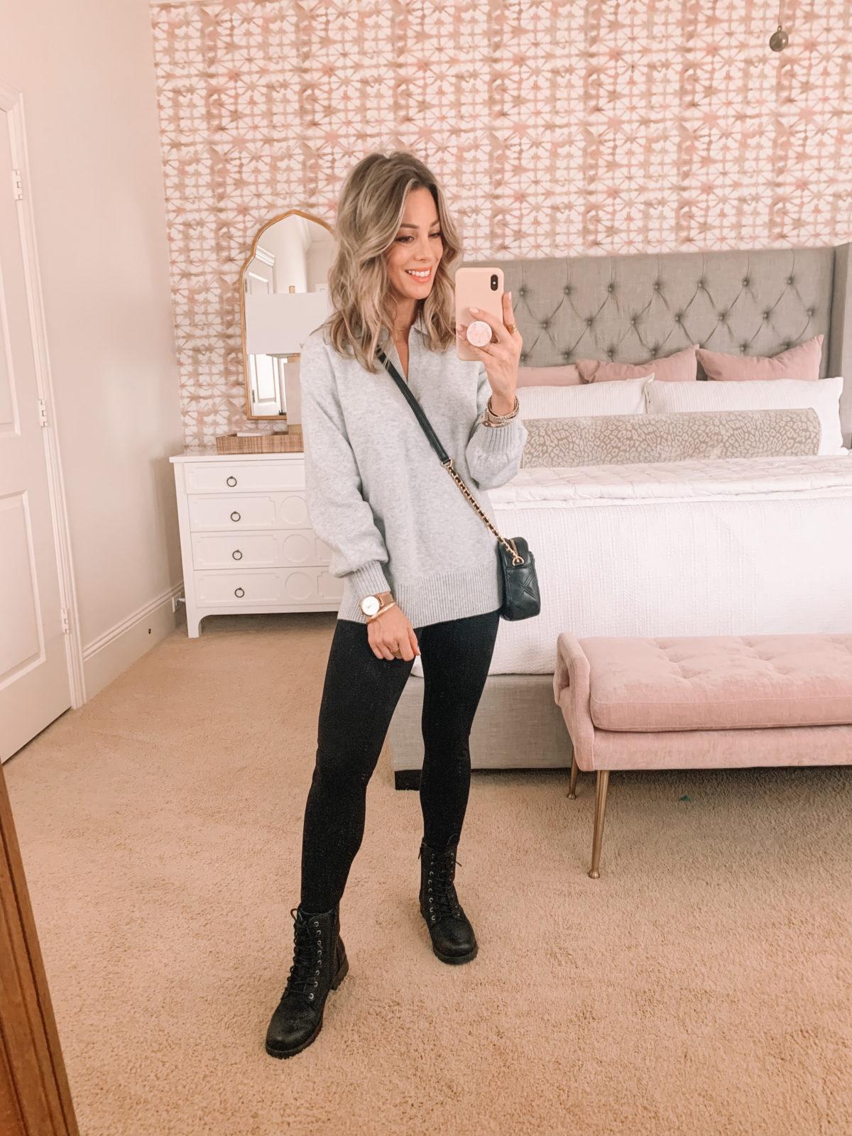 Dressing Room Finds Tunic Top, Leggings, Combat Boots, Crossbody