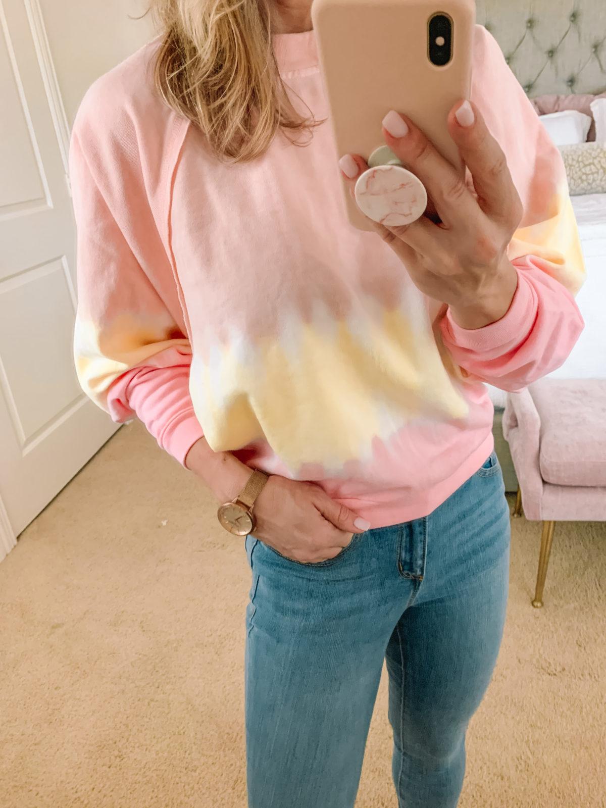Dressing Room Finds, Colorblock Tie Dye Sweatshirt, Jeans