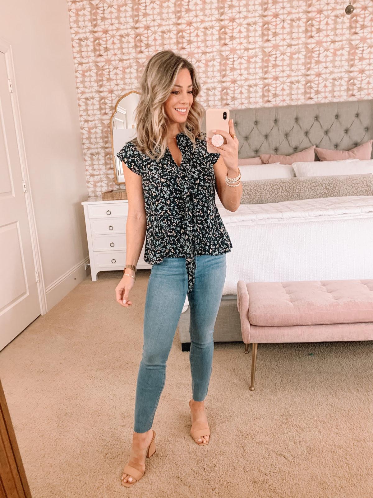 Dressing Room, Floral Top, Jeans, Nude Sandals