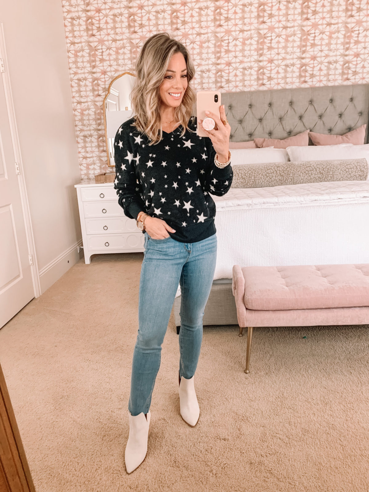 Dressing Room Finds, Star Sweater, Jeans, Booties