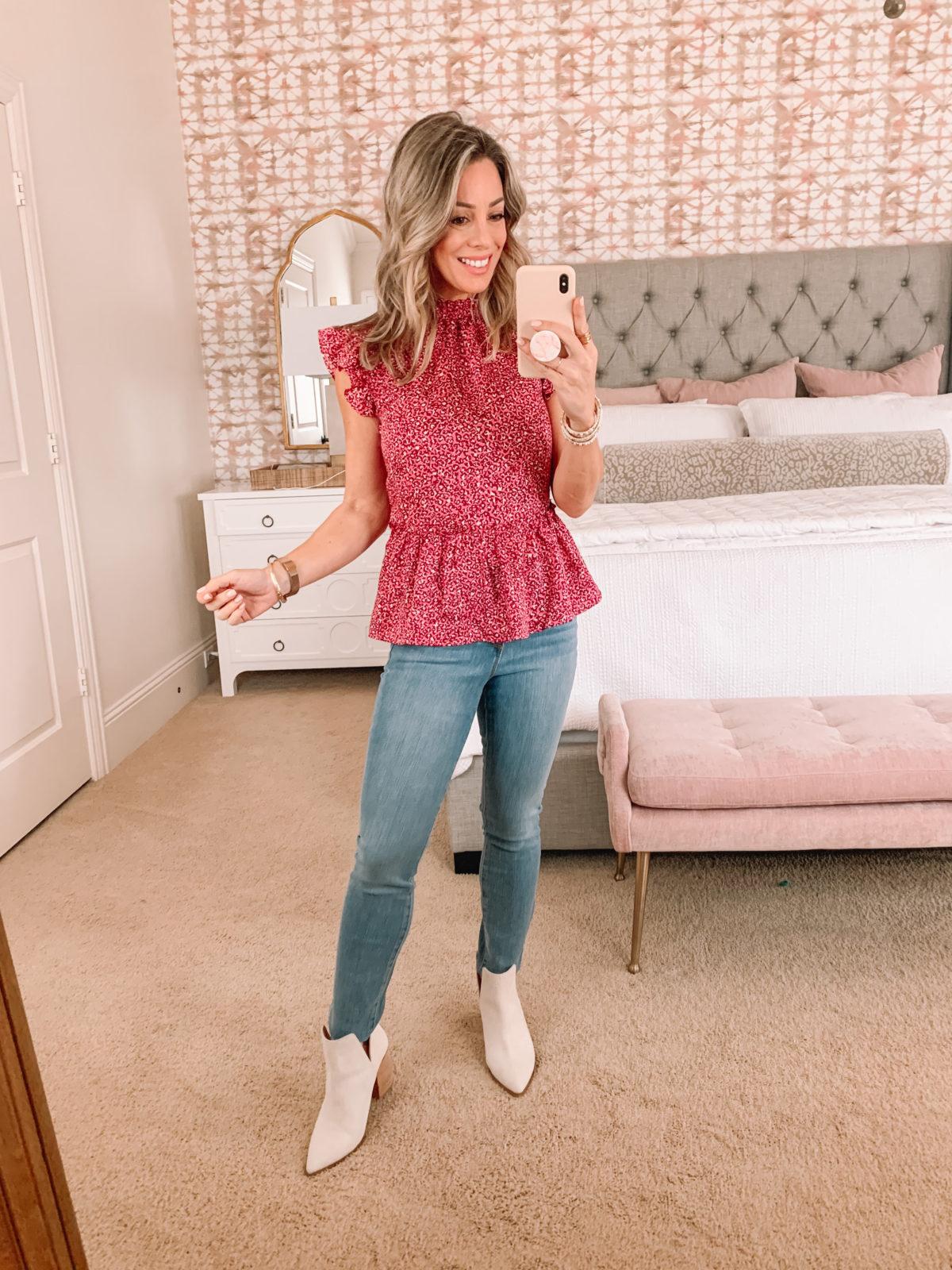 Dressing Room Finds, Pink Flutter Sleeve Floral Peplum Top, Jeans, booties