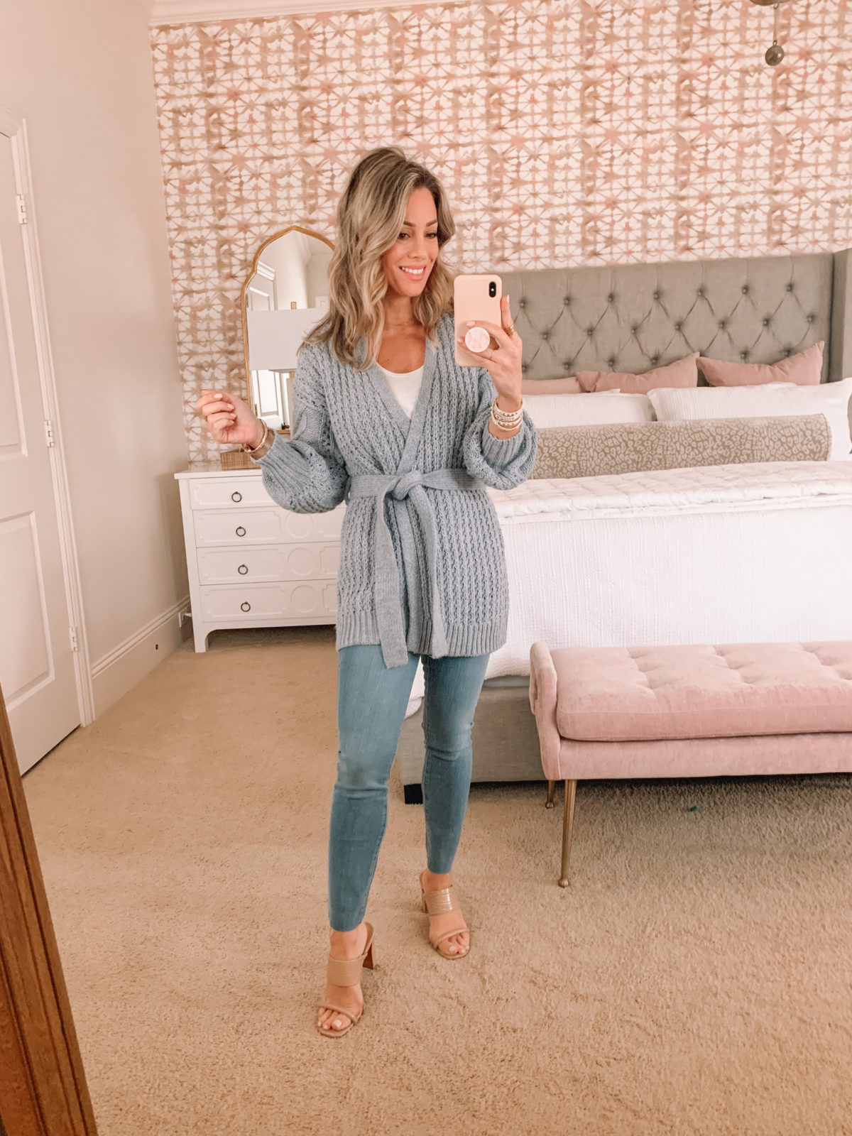 Dressing Room Finds, Gray Tie Waist Cardigan, Tank, Jeans, Sandals