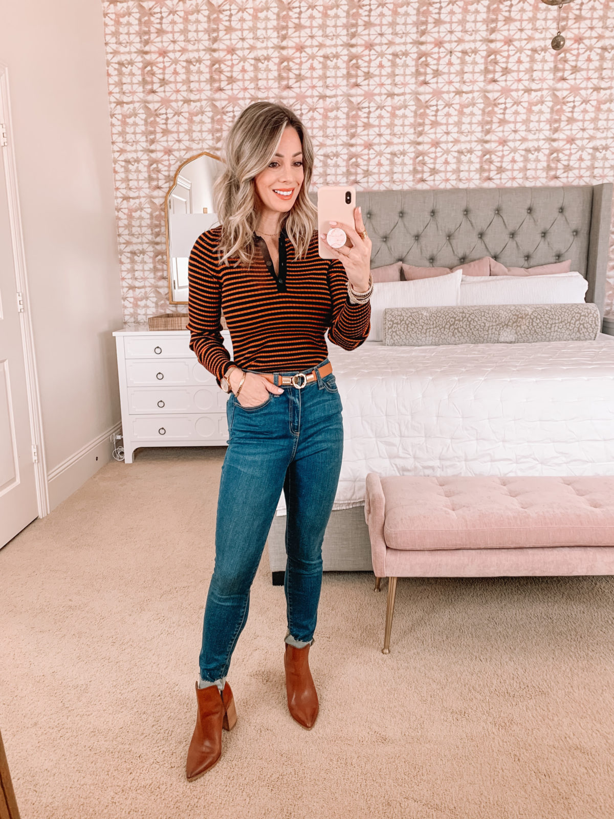 Amazon Fashion Faves, Stripe top, Jeans, Booties