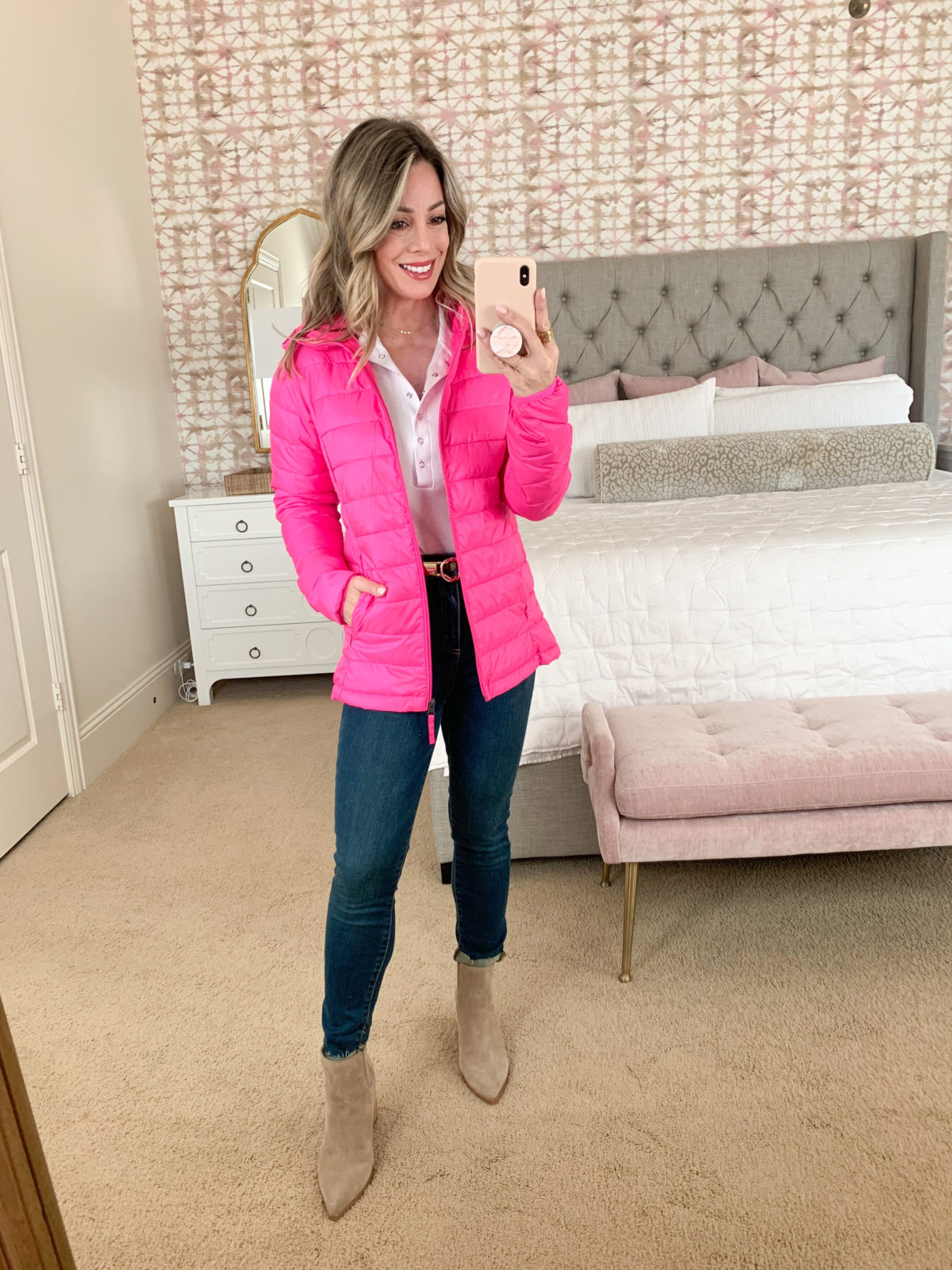 Amazon Fashion Faves, White Button Bodysuit, Pink Puffer Jacket, Skinny Jeans, Booties