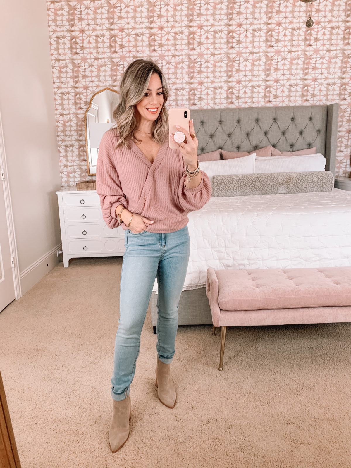 Amazon Fashion Faves, Pink Wrap Front Sweater, Jeans, Booties