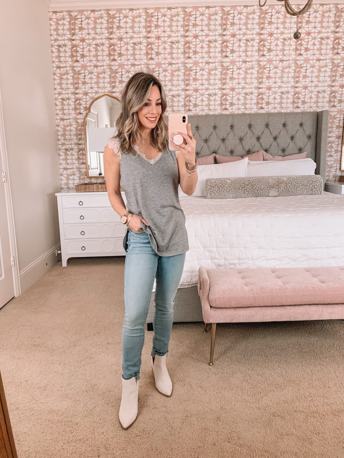 Amazon Fashion Faves, Tunic Tee, Jeans, Booties