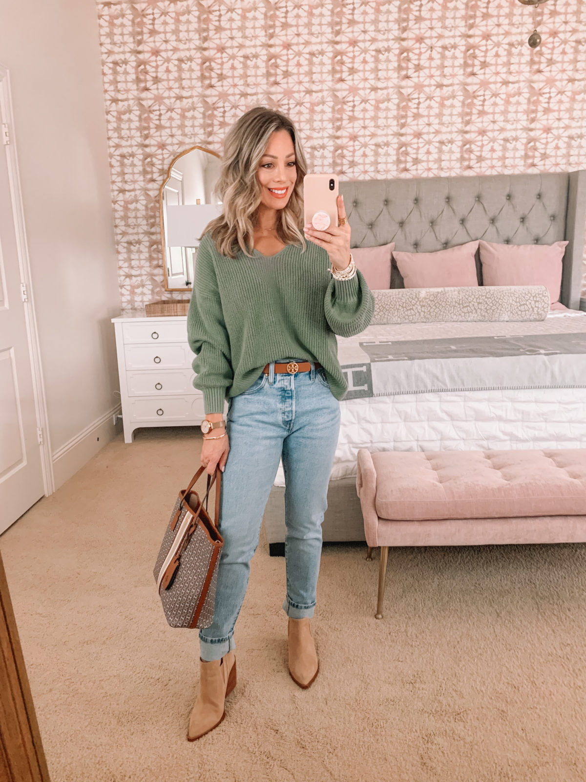 Dressing Room Finds Nordstrom, LOFT, Revolve, Sage Green Sweater, Jeans, Sandals