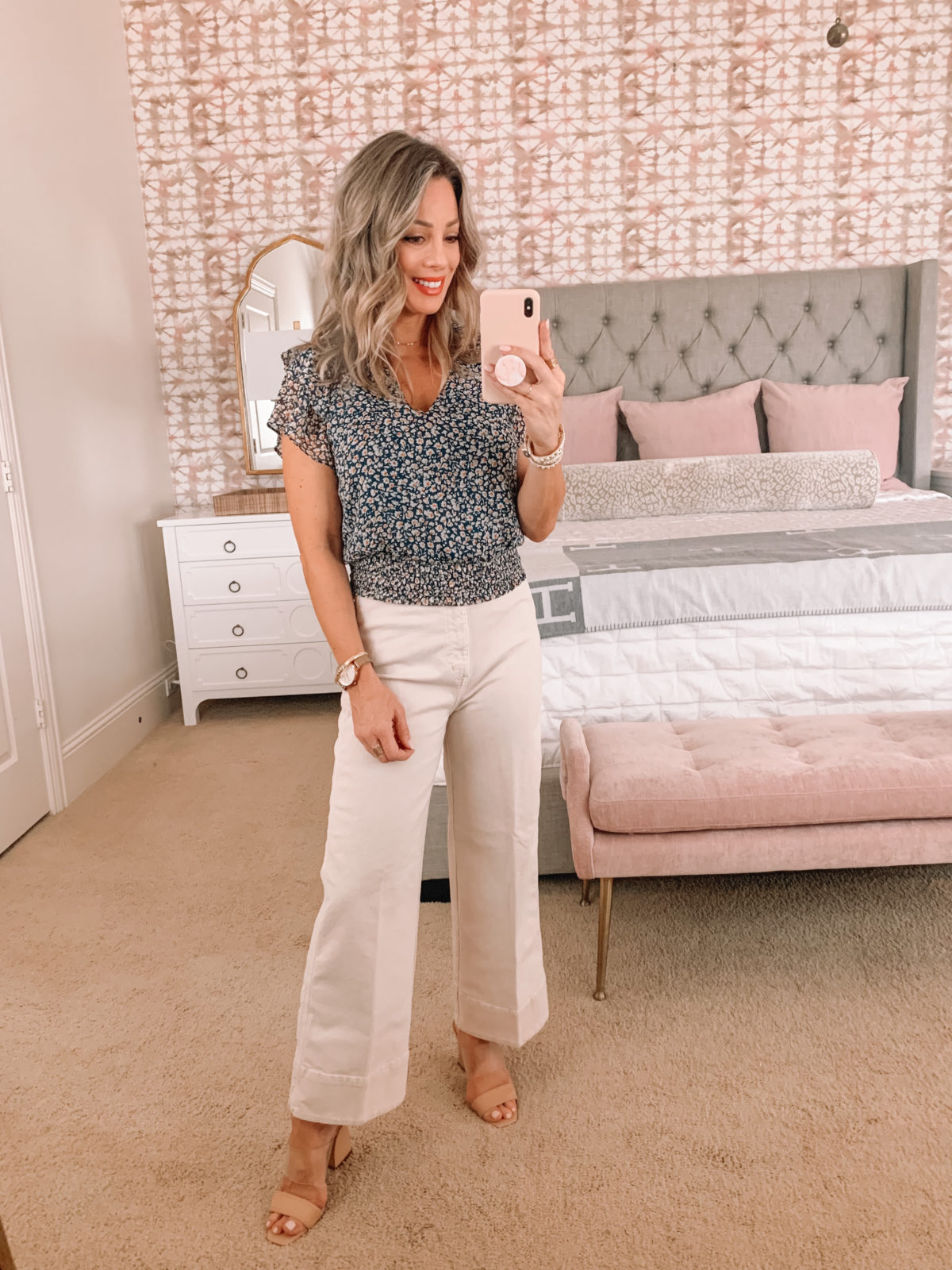 Dressing Room Finds Nordstrom, LOFT, Revolve. Floral Top, Wide Leg pants, Sandals