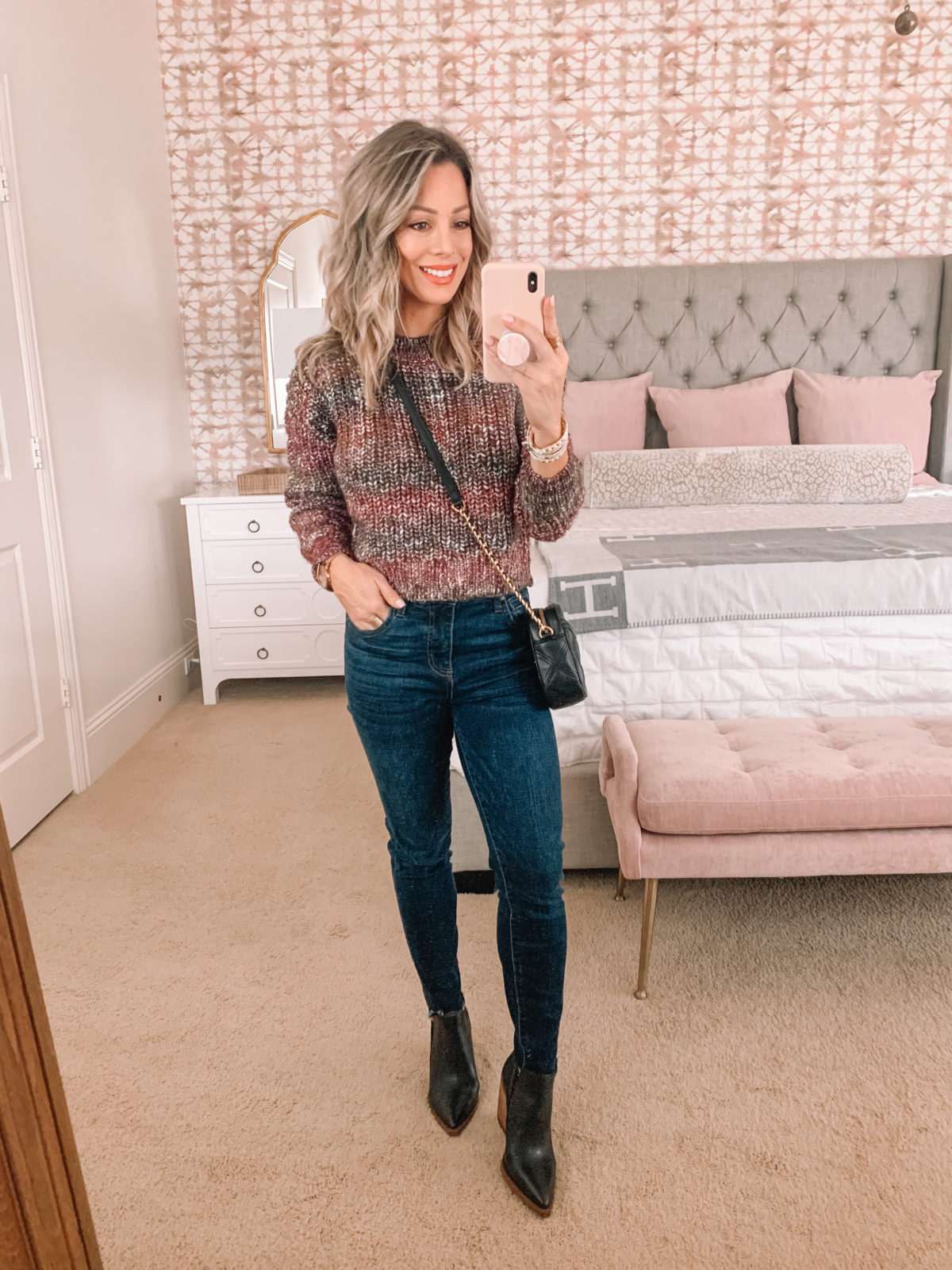 Dressing Room Finds Nordstrom, LOFT, Revolve, Sweater, Jeans, Booties, Crossbody