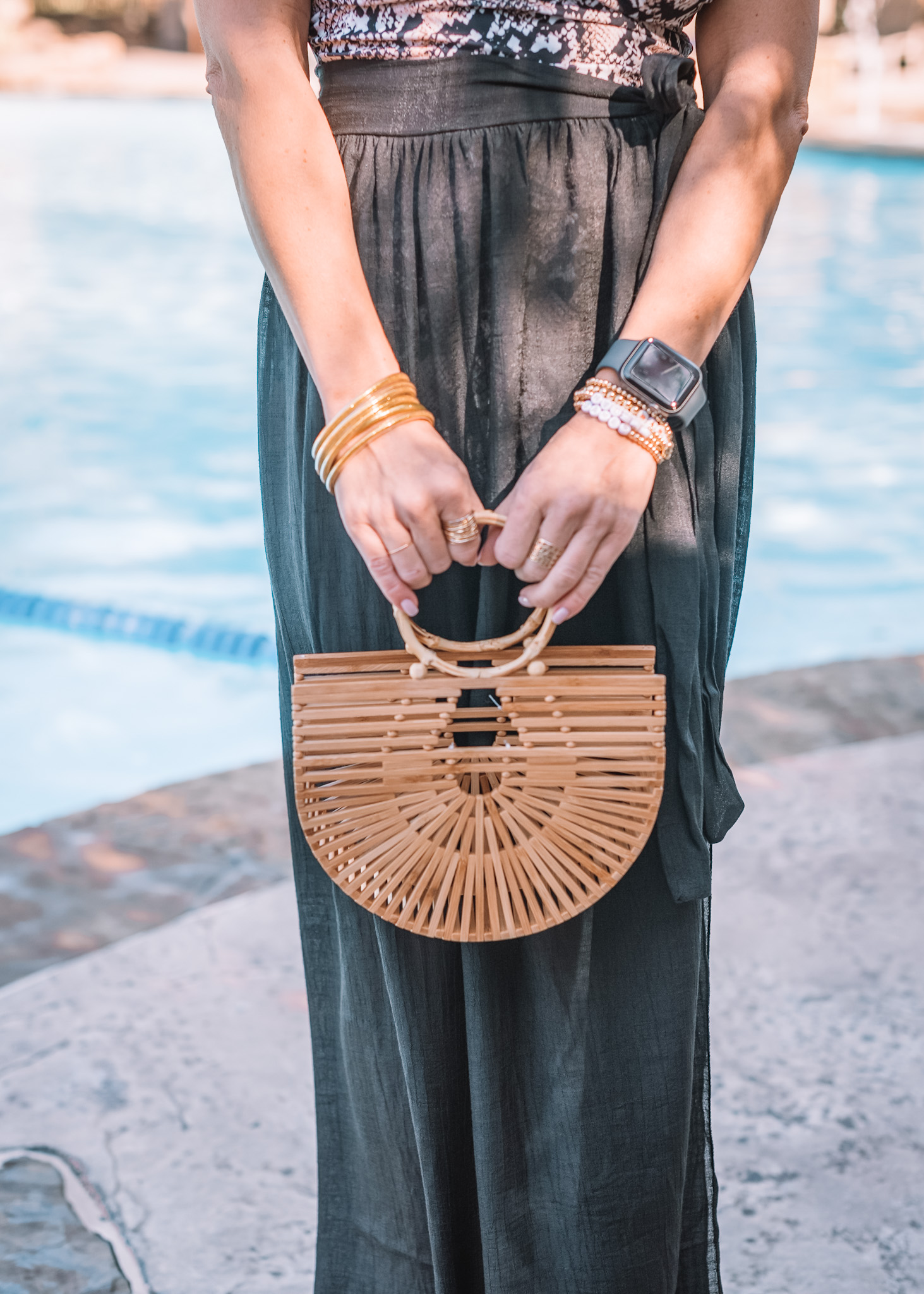 Amazon Fashion Faves, Snake print Swimsuit, Sarong, Bamboo Hand Bag, Gold Bangles