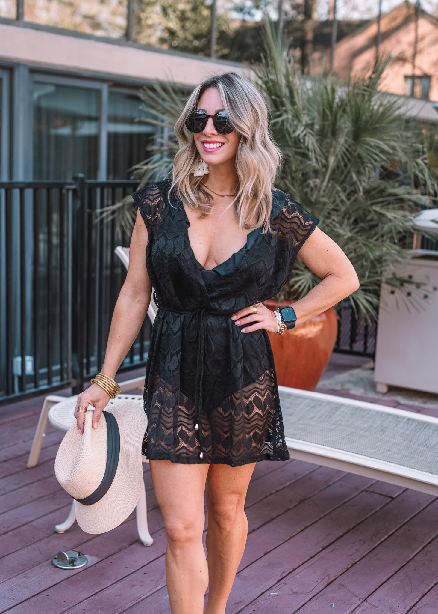 Amazon Fashion Faves, Black Lace Coverup, Sunglasses, Hat, Earrings