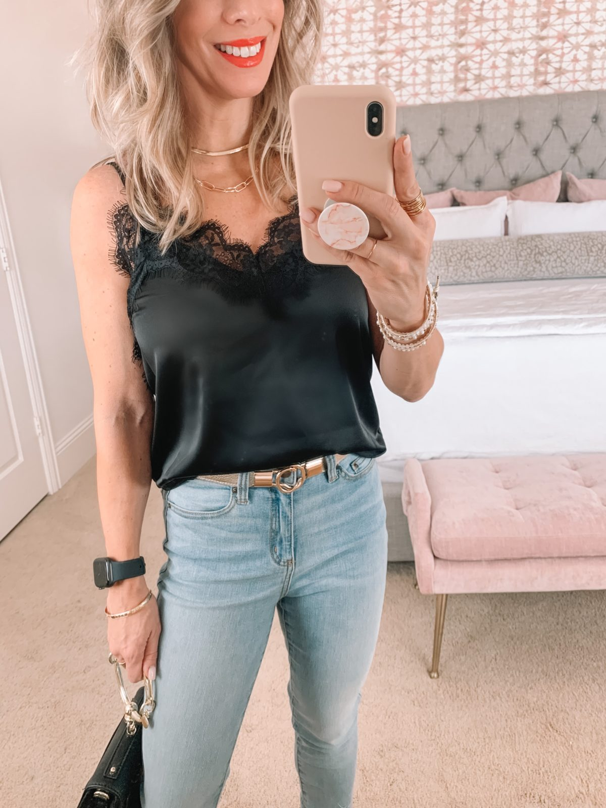 Amazon Fashion Faves, Black Lace Trim Cami, Jeans, Ring Bag