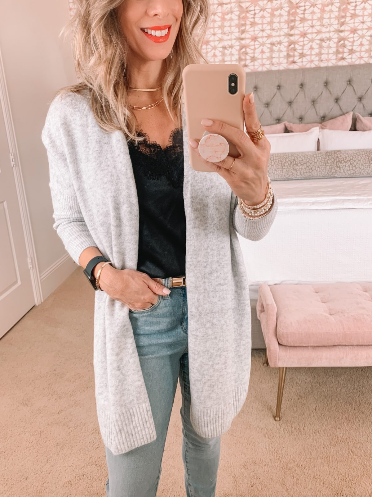 Amazon Fashion Faves, Black Cami, Cardigan, Jeans, Heels