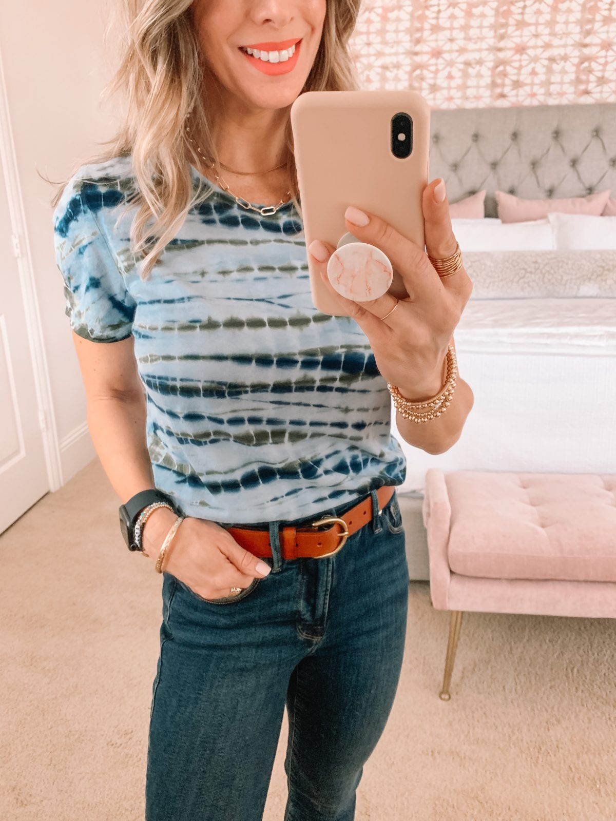 Dressing Room Finds, Nordstrom, LOFT, Tie Dye Tee, Jeans, Sandals
