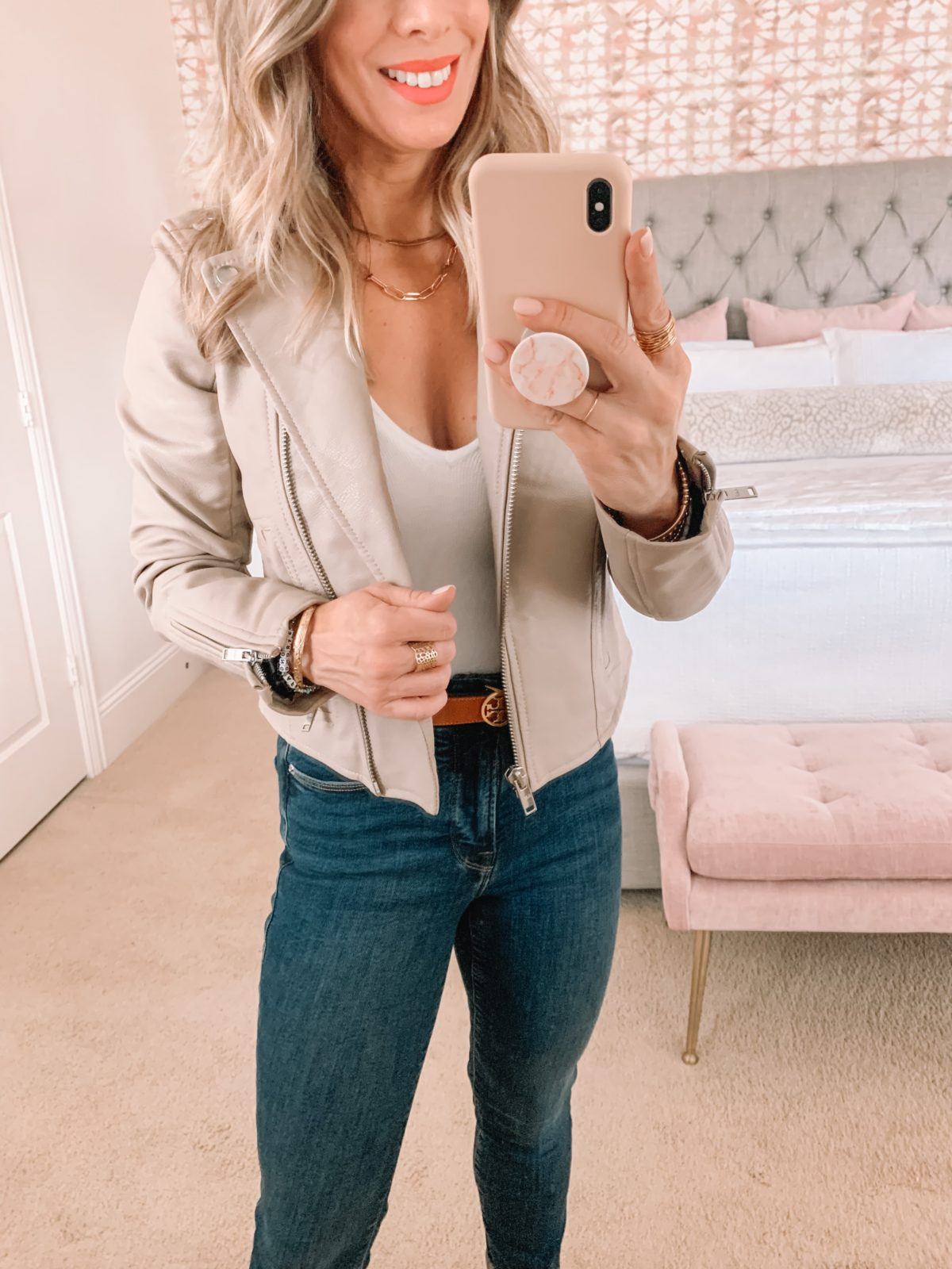 Dressing Room Finds, Abercrombie, Nordstrom, Bodysuit, Jacket, Jeans, Wedges, Crossbody