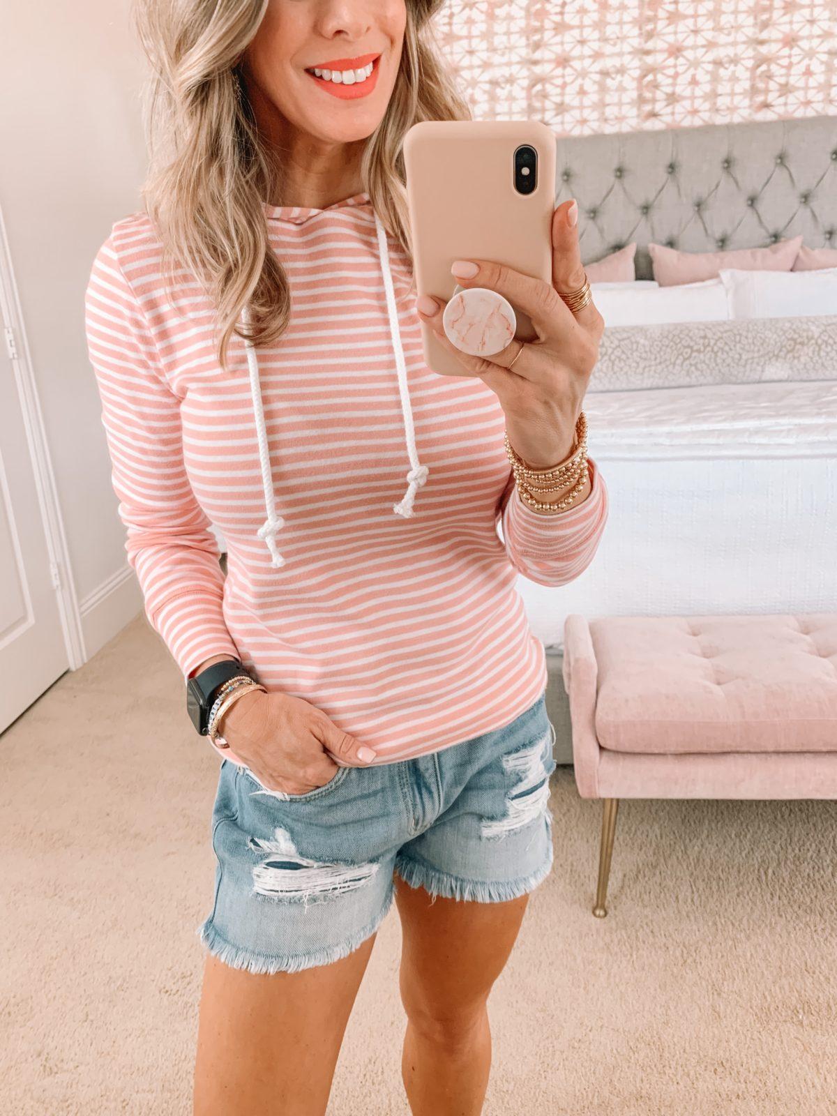 Dressing Room Finds, Stripe Pullover, Shorts, Sandals