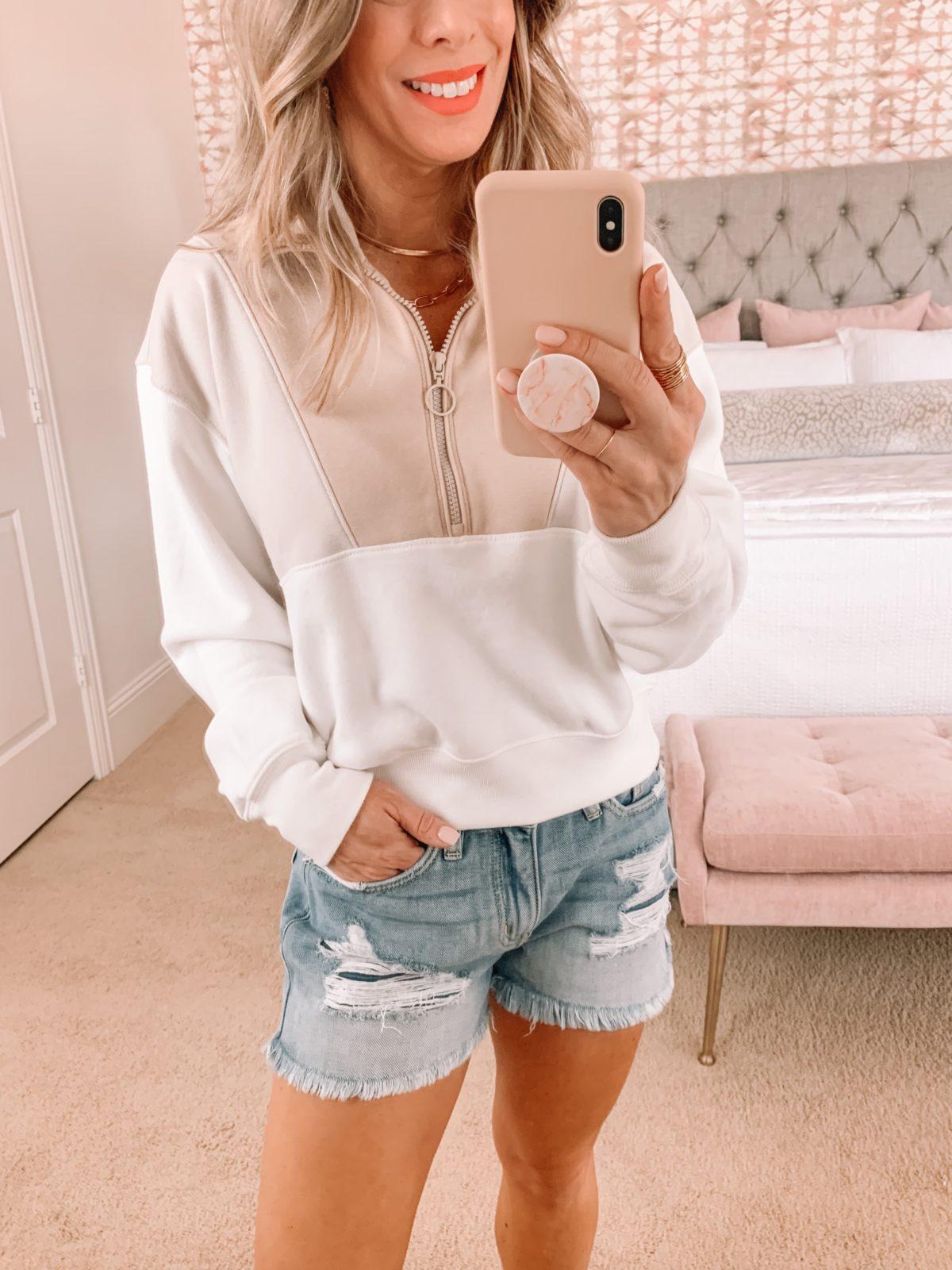 Dressing Room Finds, Nordstrom, Abercrombie, Shorts, Pullover, Sandals