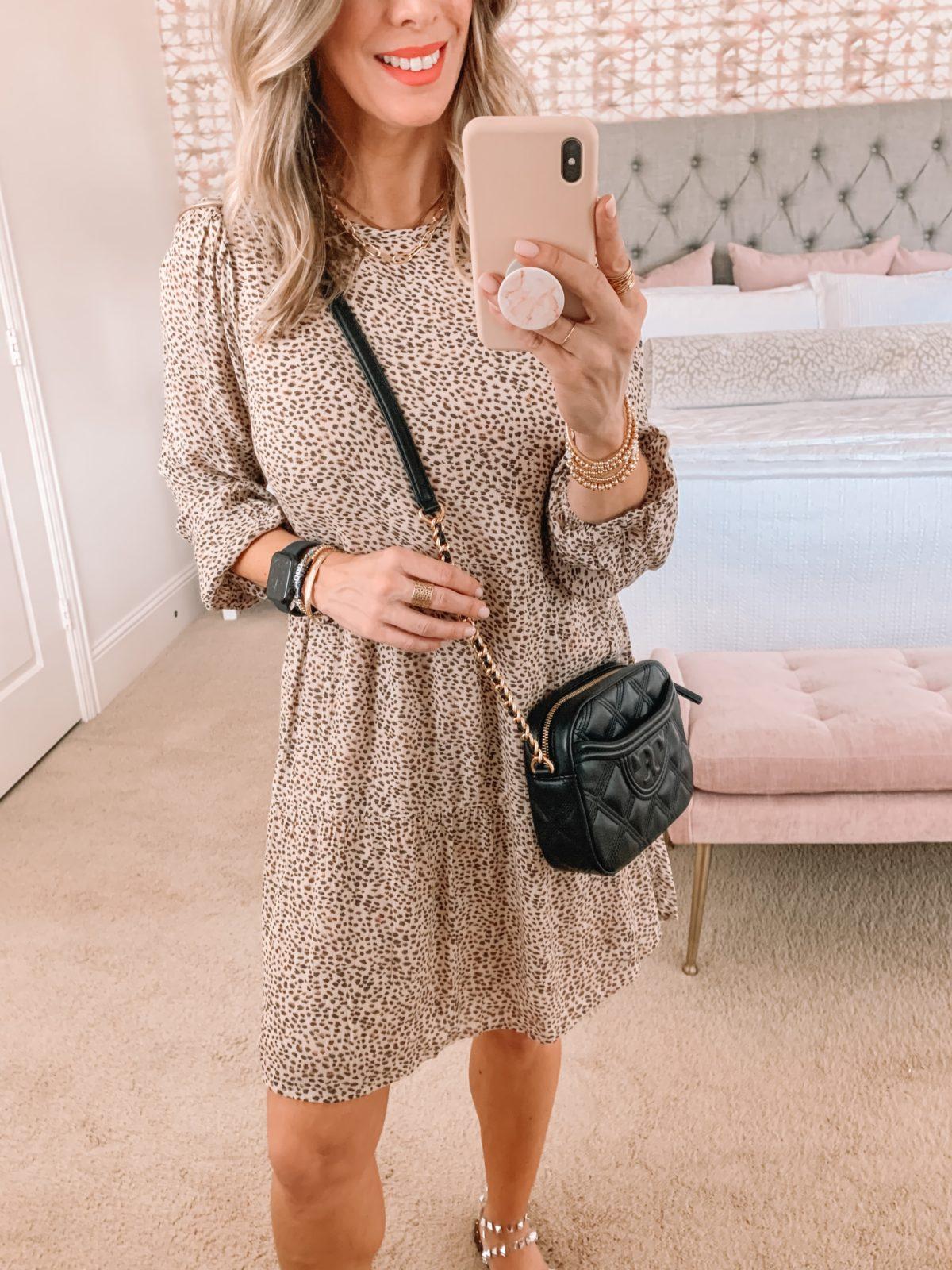 Dressing Room Finds, Nordstrom, Abercrombie, Leopard dress, Sandals, Crossbody