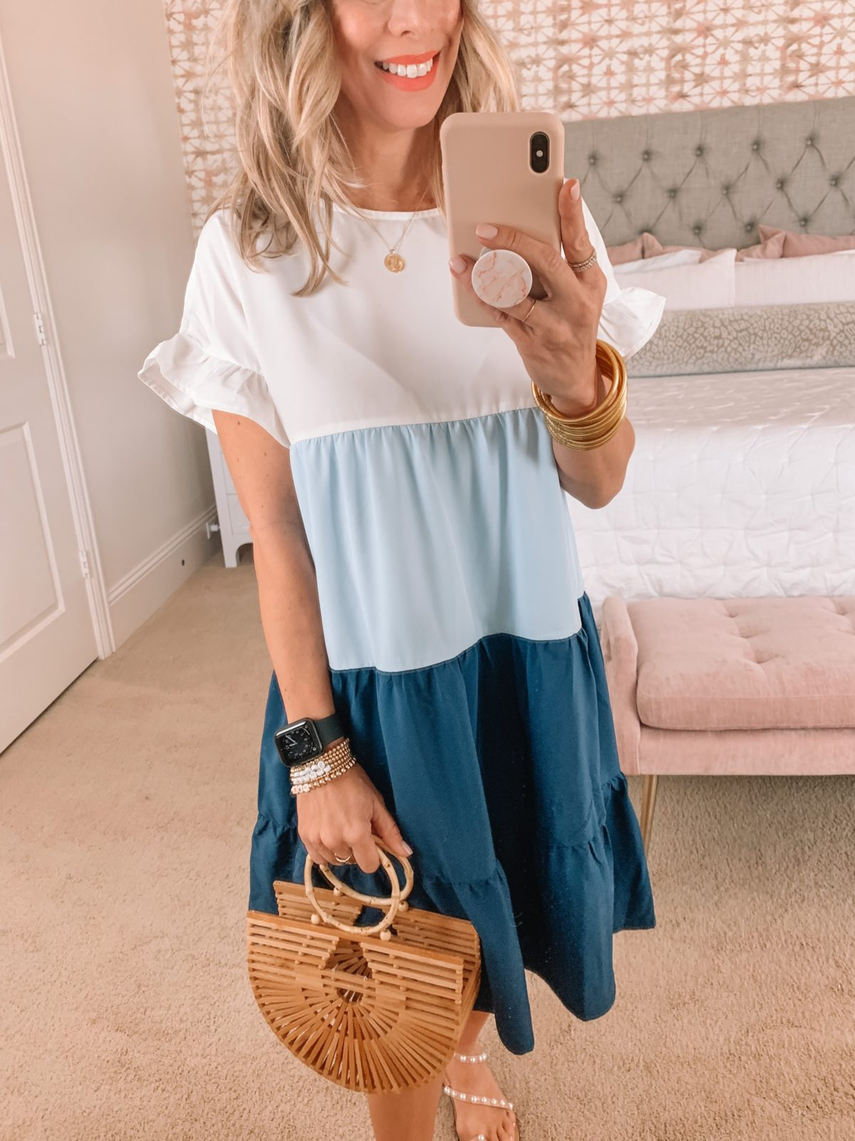 Amazon Fashion Faves, Colorblock Dress, Pearl Sandals, Bamboo Clutch