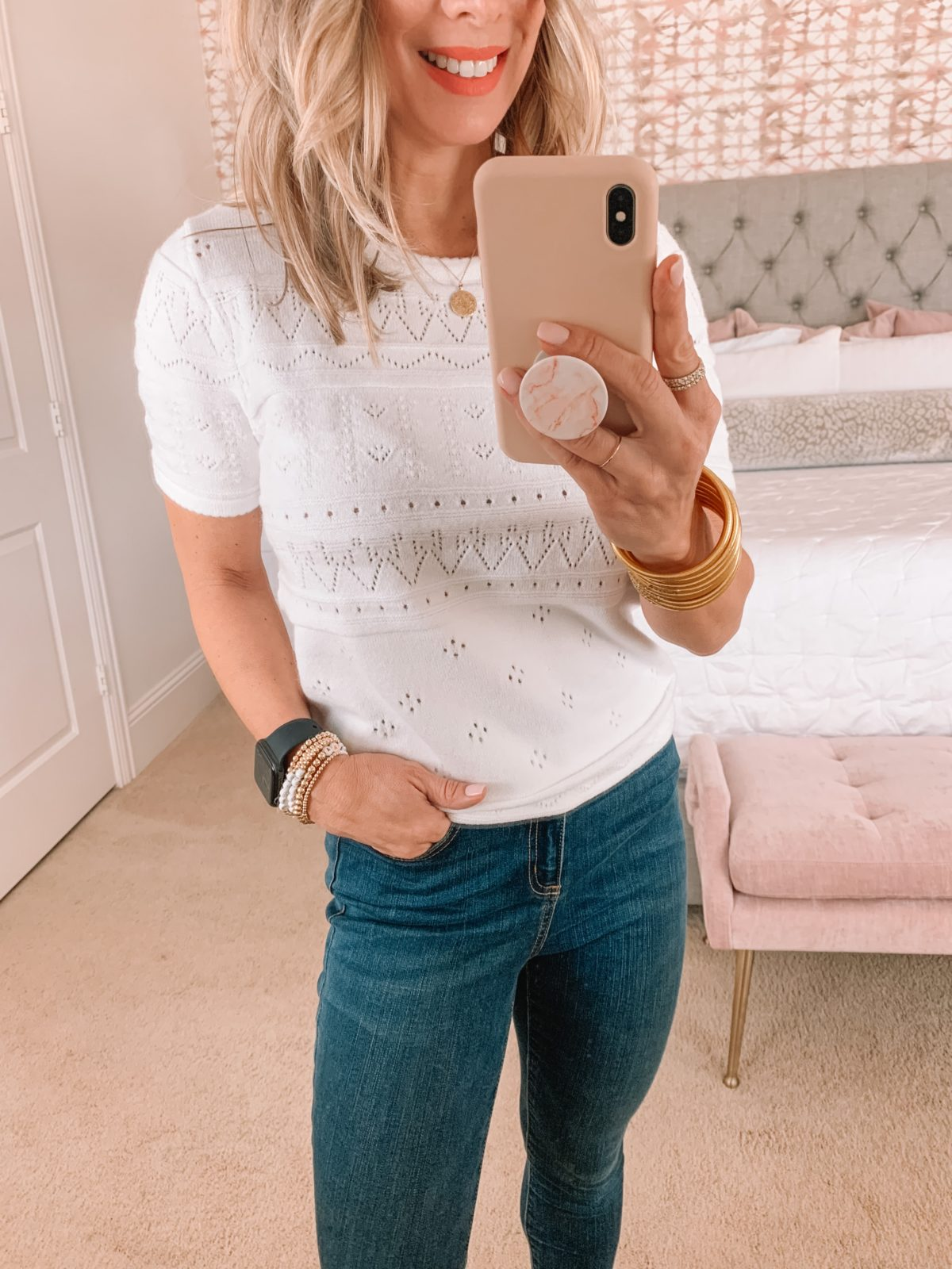 Amazon Fashion Faves, White Embroidered Top, Jeans, Wedge Sandals