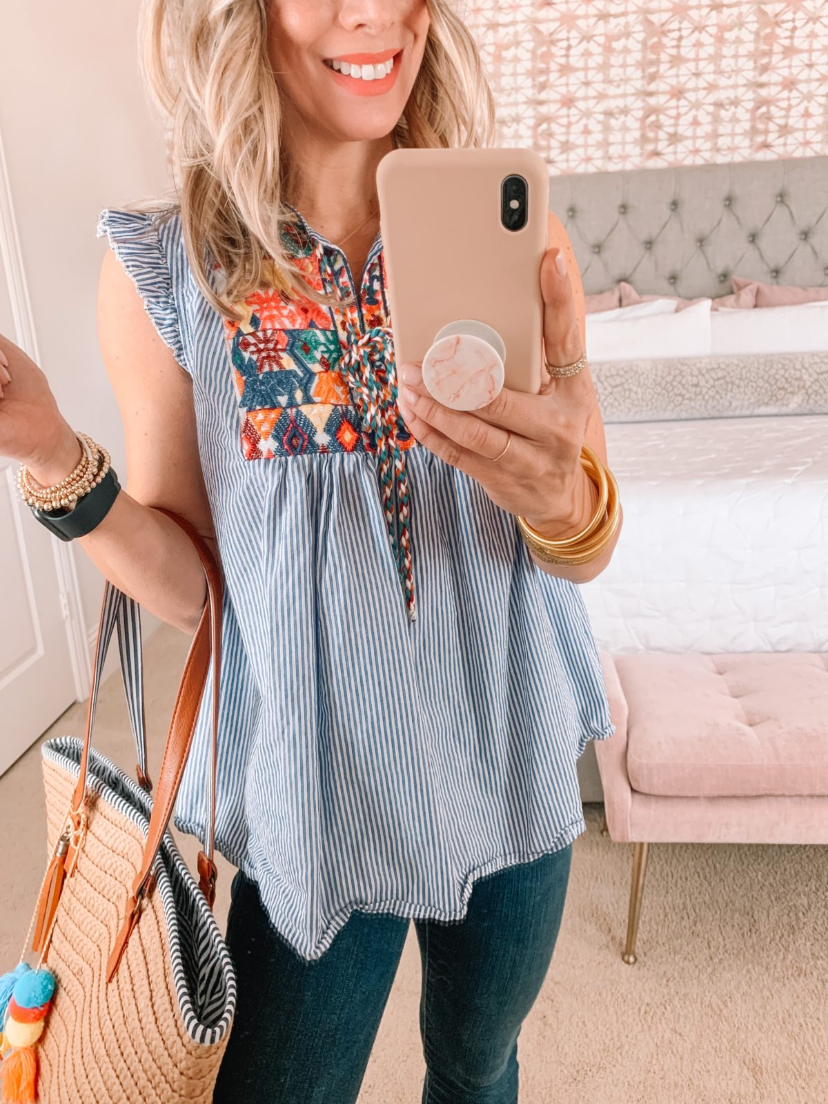 Amazon Fashion Faves, Embroidered Top, Jeans, Tote Bag with Tassel