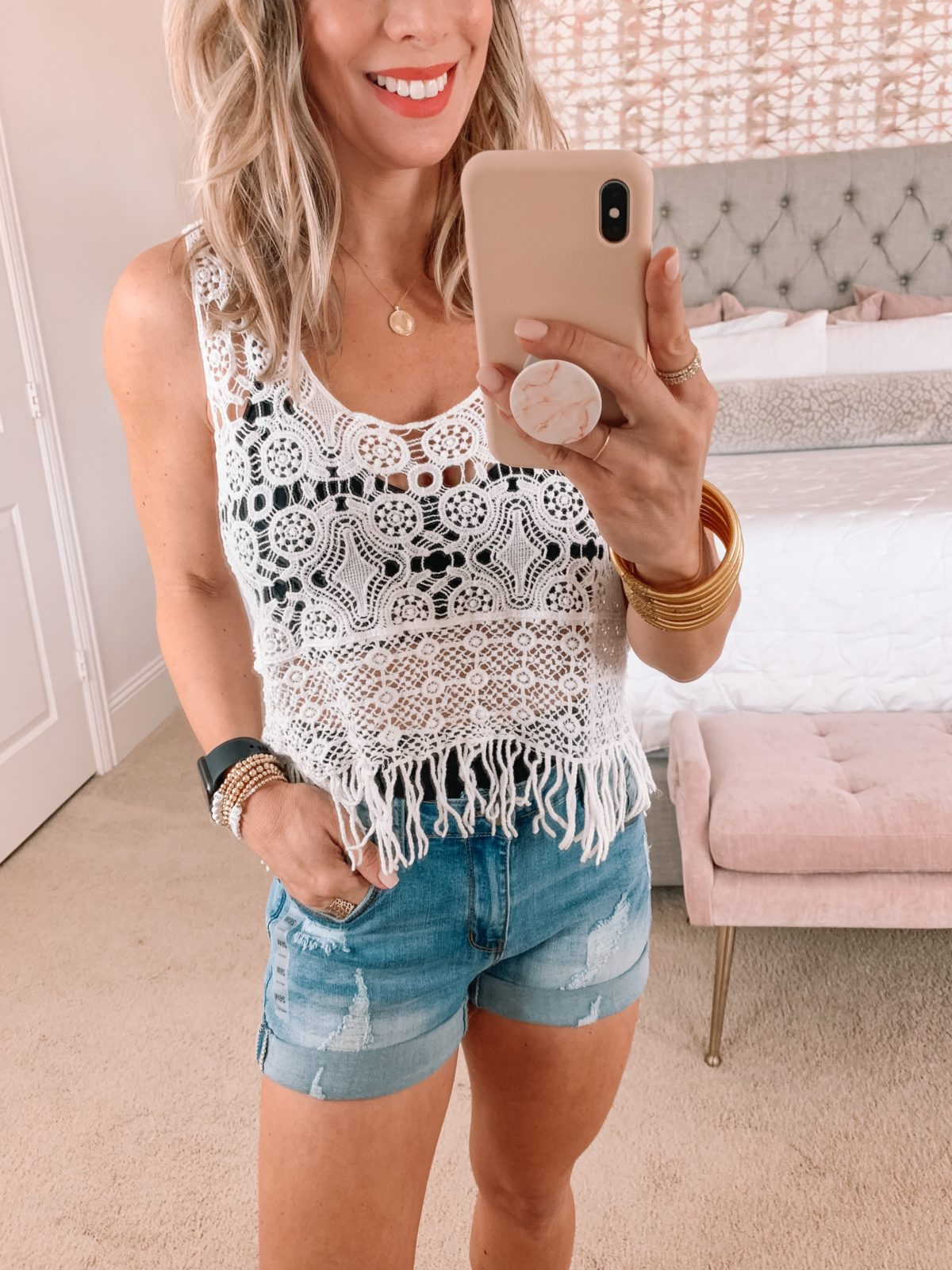 Amazon Fashion Faves, Cover up Crop Top, Jean Shorts, Sandals