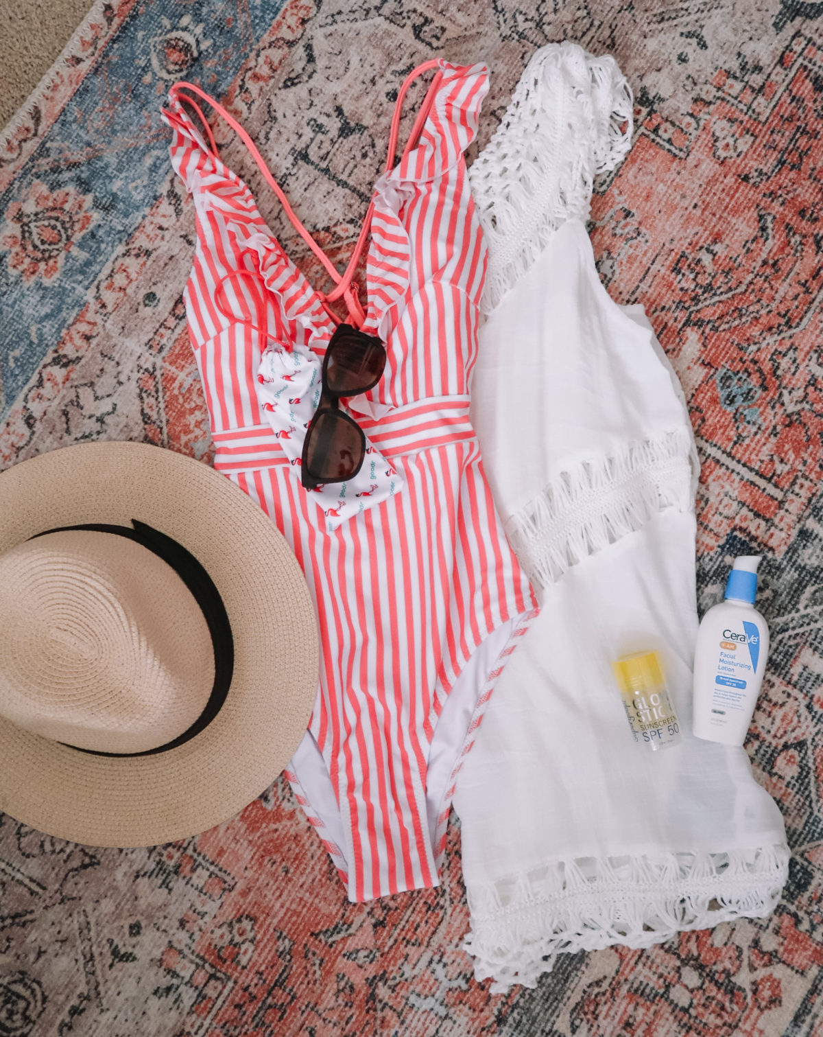 Packing Essentials, Stripe Swimsuit, CoverUp, Hat, Sunscreen, Lotion