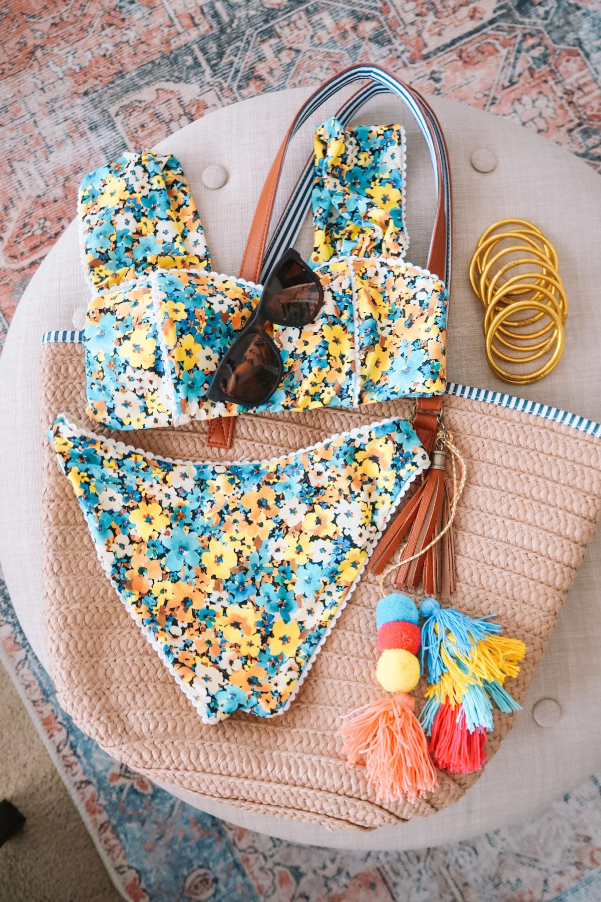 Packing Essentials, Floral Bikini, Tote Bag, Bangles, Sunglasses