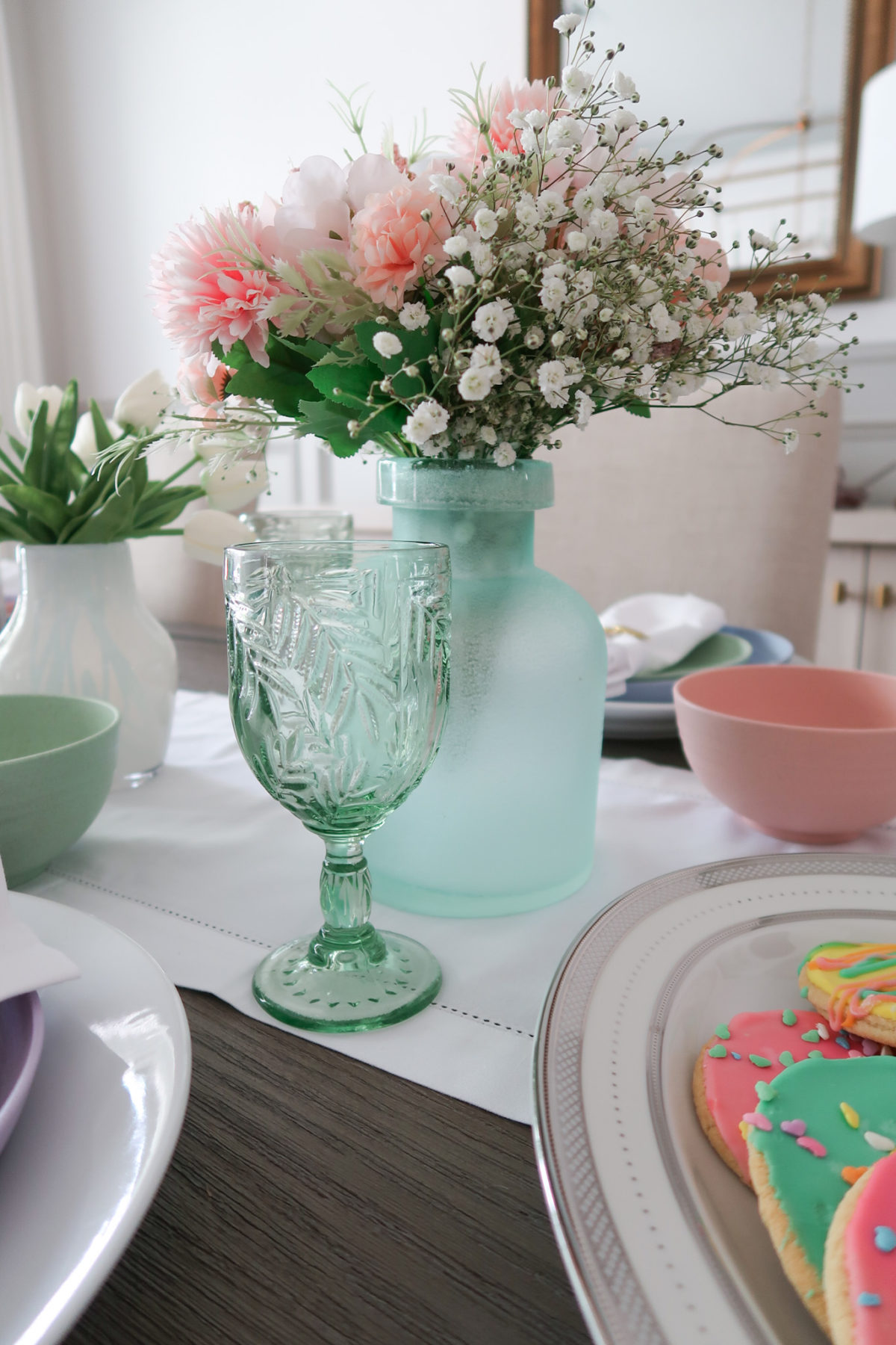 Spring Decor, Drinking Glasses, Faux Flowers