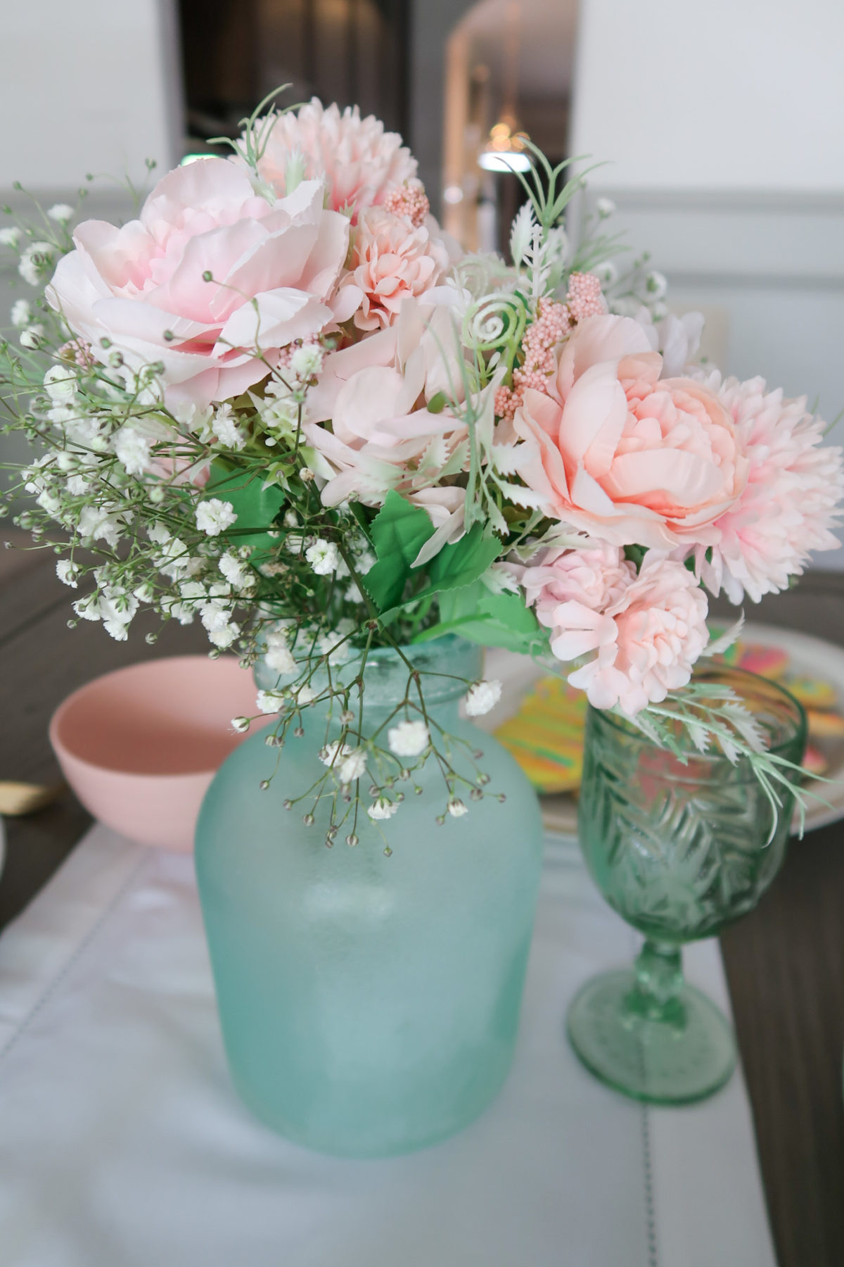 Spring Decor, Faux Flowers, Sea Glass Vase, Green Glasses, White Linens