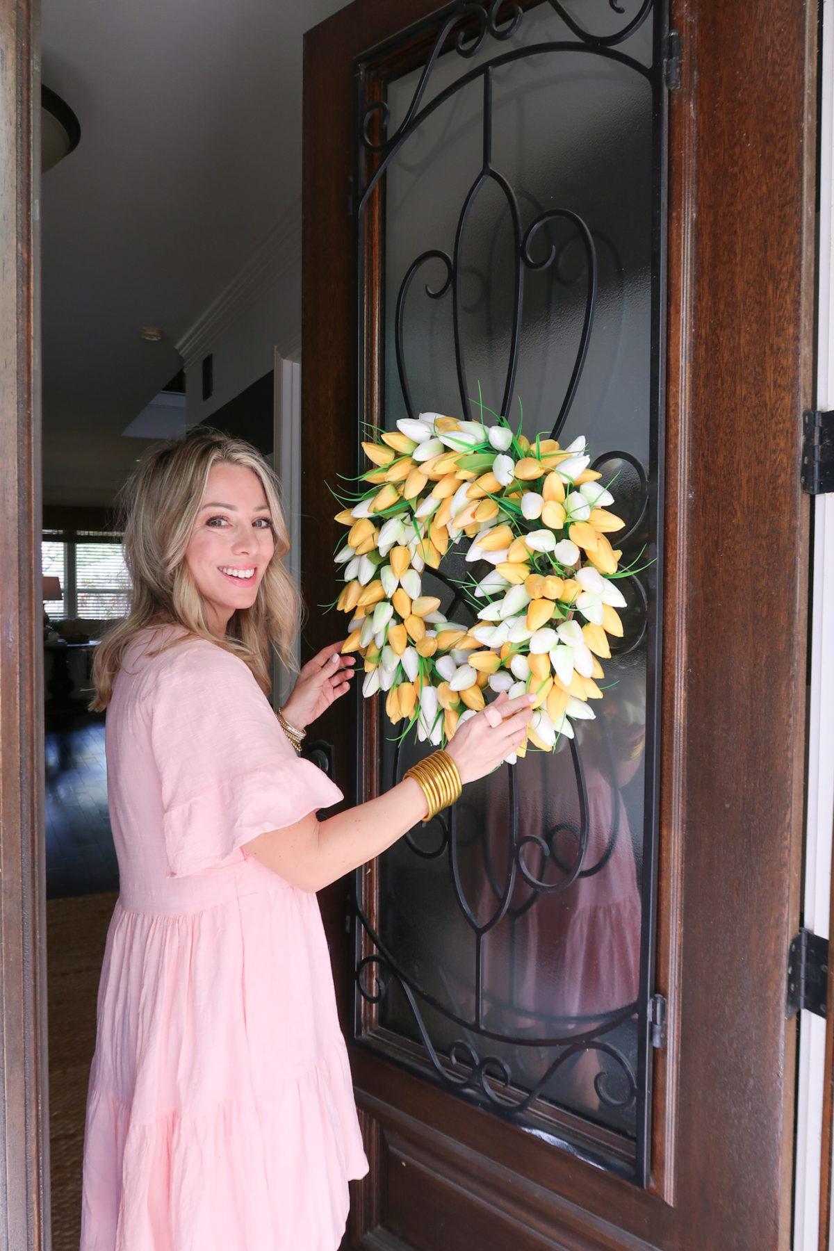 Easter Home, Tulip Wreath, Pink Dress