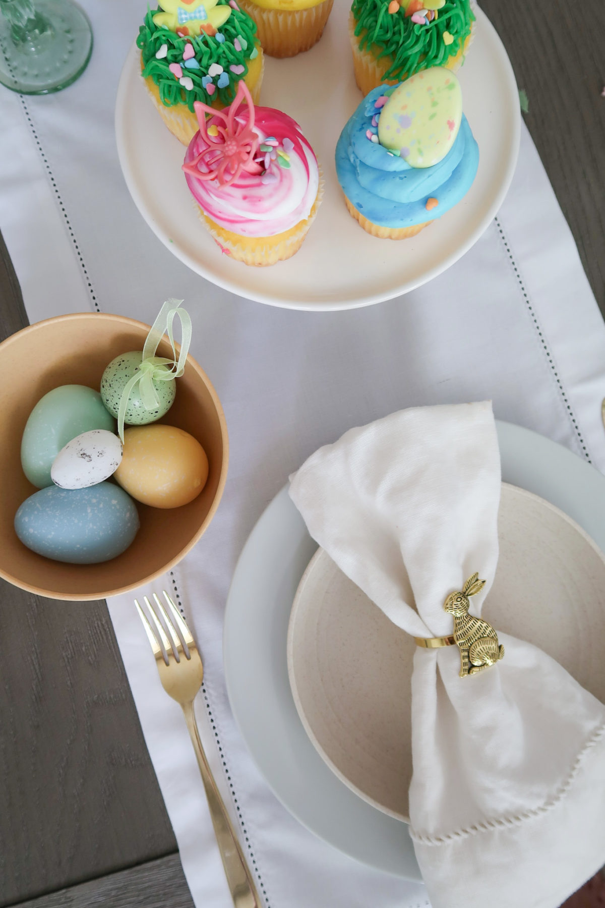 Spring Decor, White Linens, Cupcakes, Gold Flatware, Bunny Napkin Ring