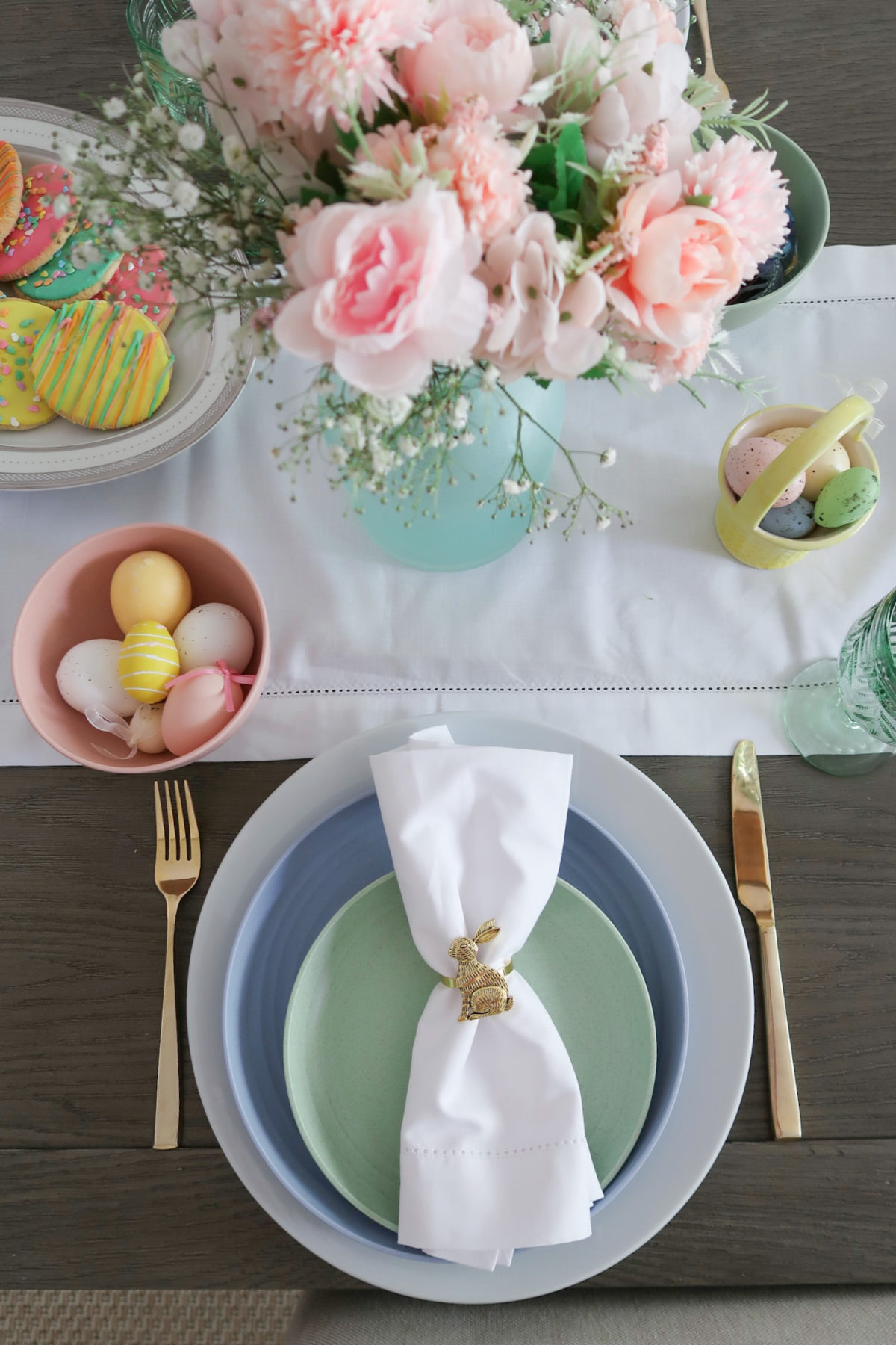 Spring Decor, Flowers, Table Runner, Pastel Plates, Bunny Napkin rings, Gold Flatware