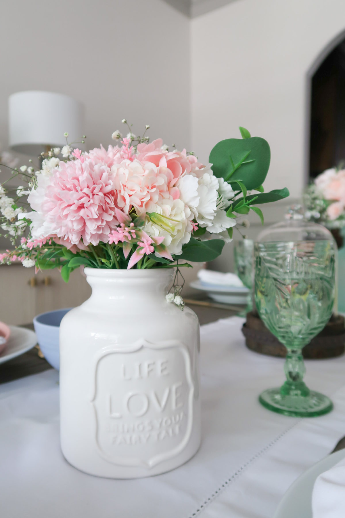 Spring Decor, Faux Flowers with vase