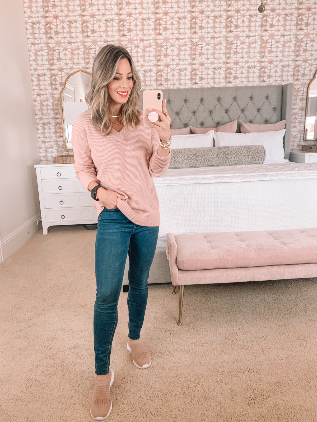 Amazon Fashion Faves, Pink V Neck Sweater, Jeans, Slide on Sneakers