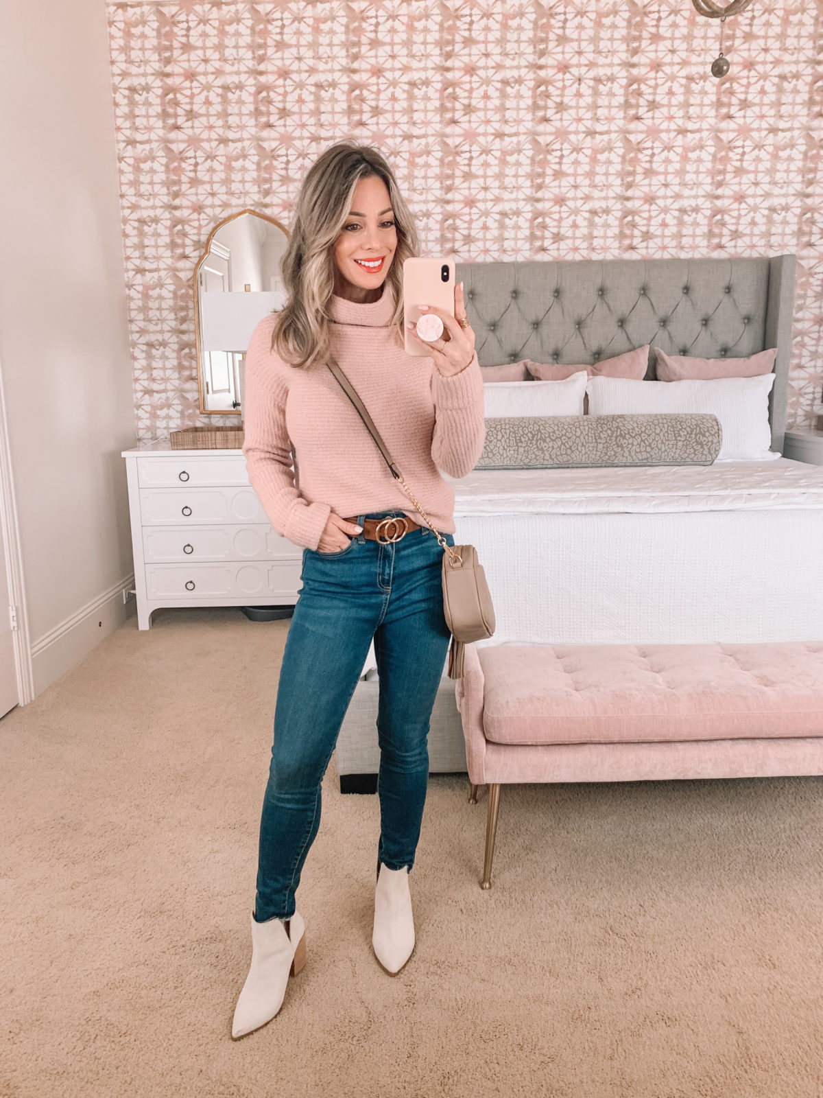 Amazon Fashion Faves, Pink sweater, Jeans, Belt, Booties, Crossbody