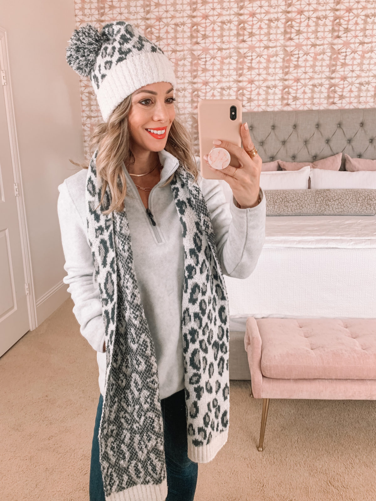 Amazon Fashion Faves, Pullover, Leopard Hat, Leopard Scarf