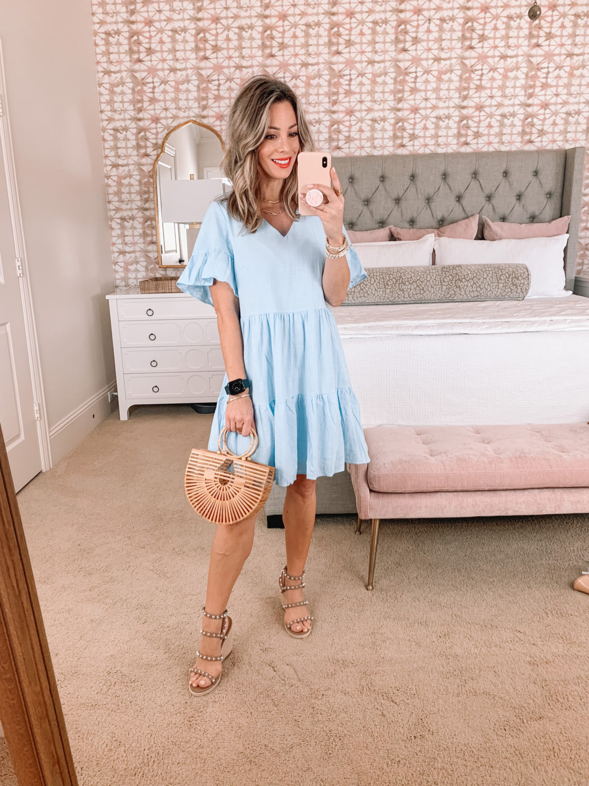 Amazon Fashion Faves, Blue Shift Dress, Wicker Bag, Wedges