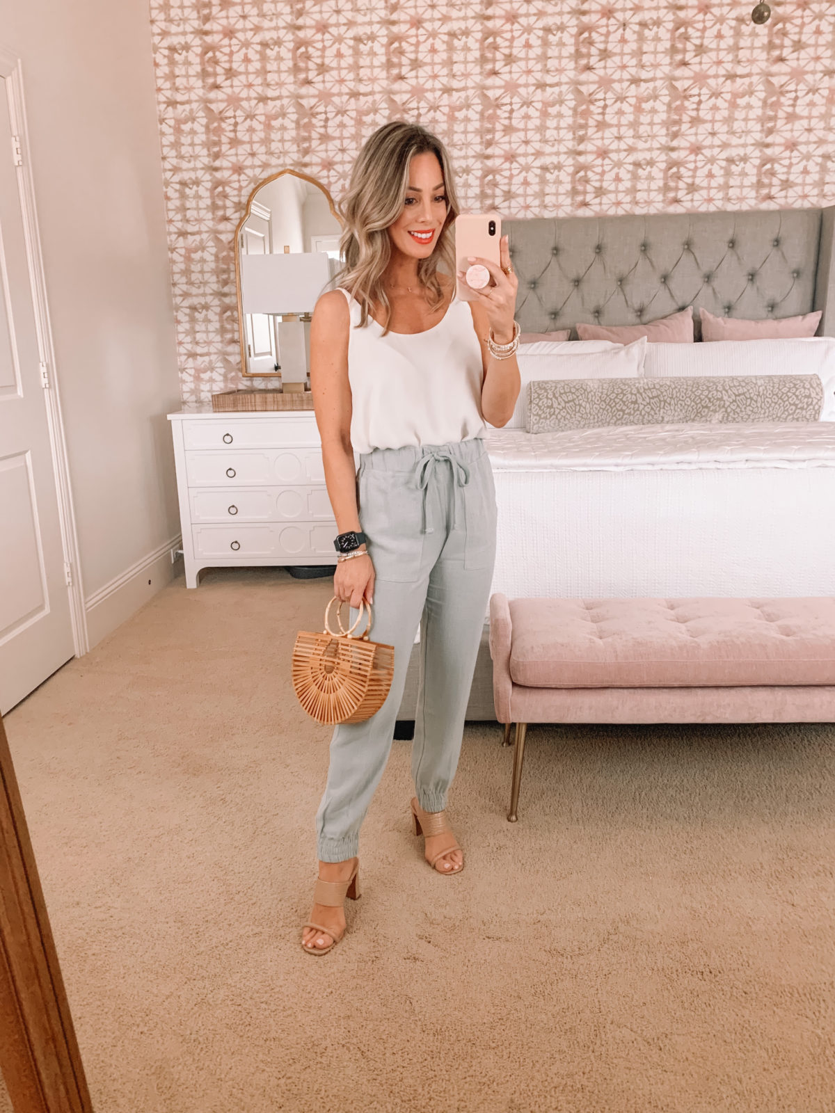 Dressing Room Finds, Nordstrom, Express, Gibson, LOFT, White Cami, Joggers, Bamboo bag, Sandals