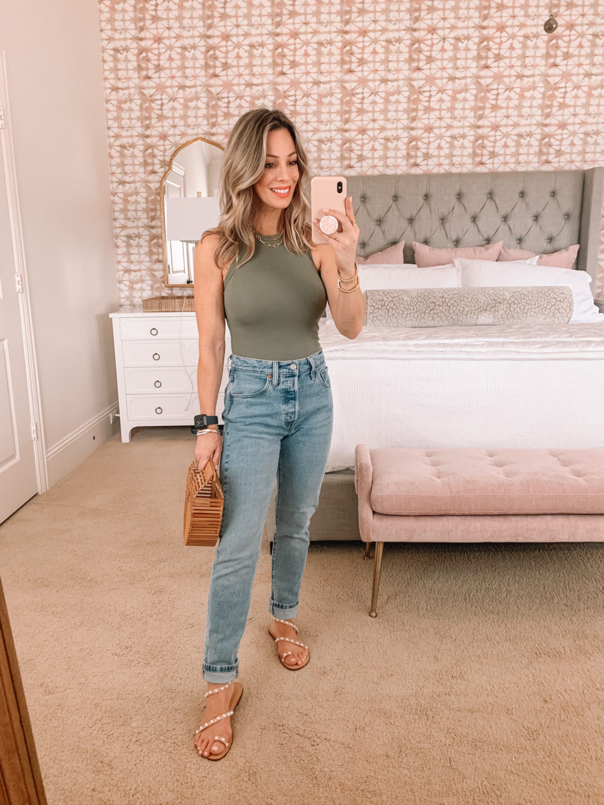 Dressing Room Finds, Nordstrom, Abercrombie, Revolve, Bodysuit, Jeans, Pearl Sandals, Bamboo Clutch