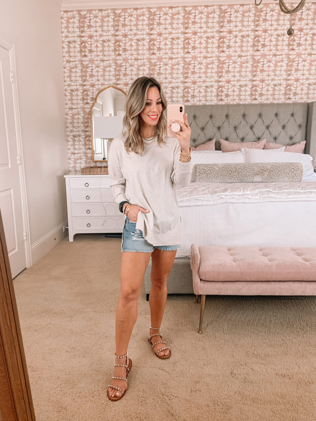 Dressing Room Finds, Nordstrom, Abercrombie, Tunic, Shorts, Sandals