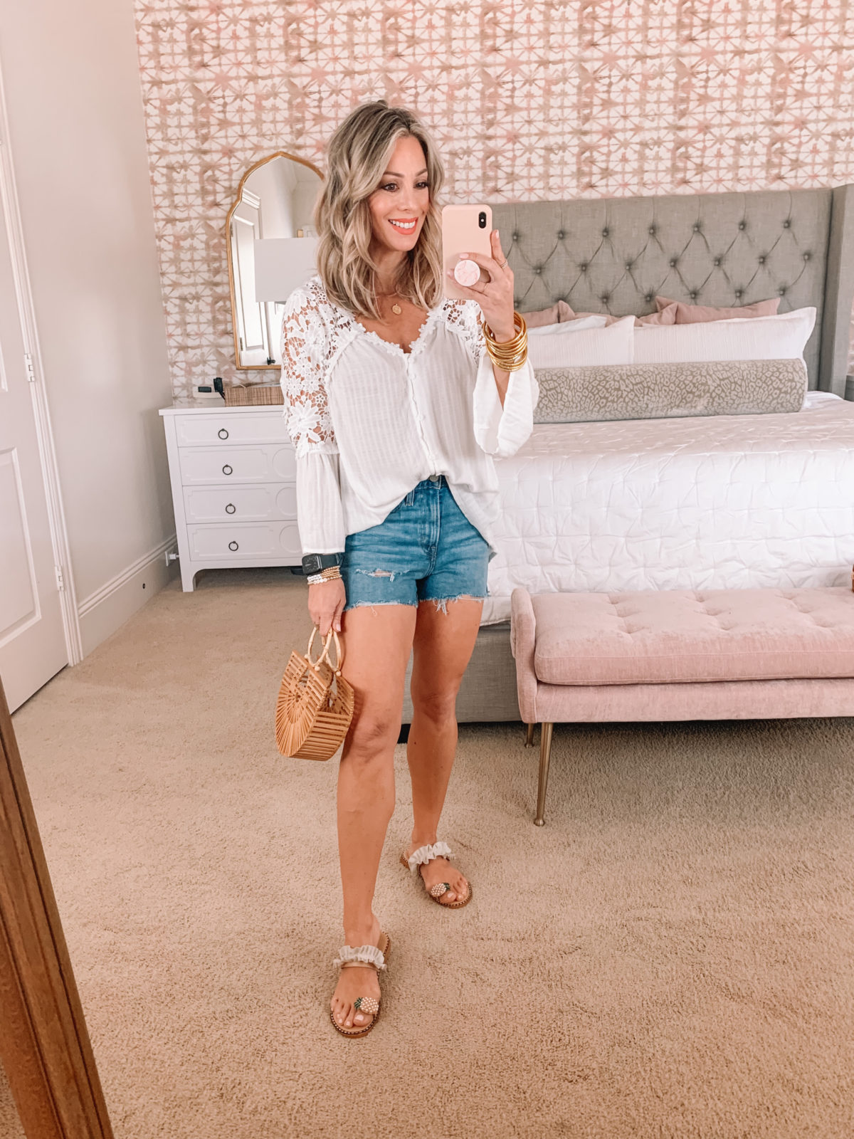Amazon Fashion Faves, Top, Shorts, Pineapple Sandals, Bamboo Clutch
