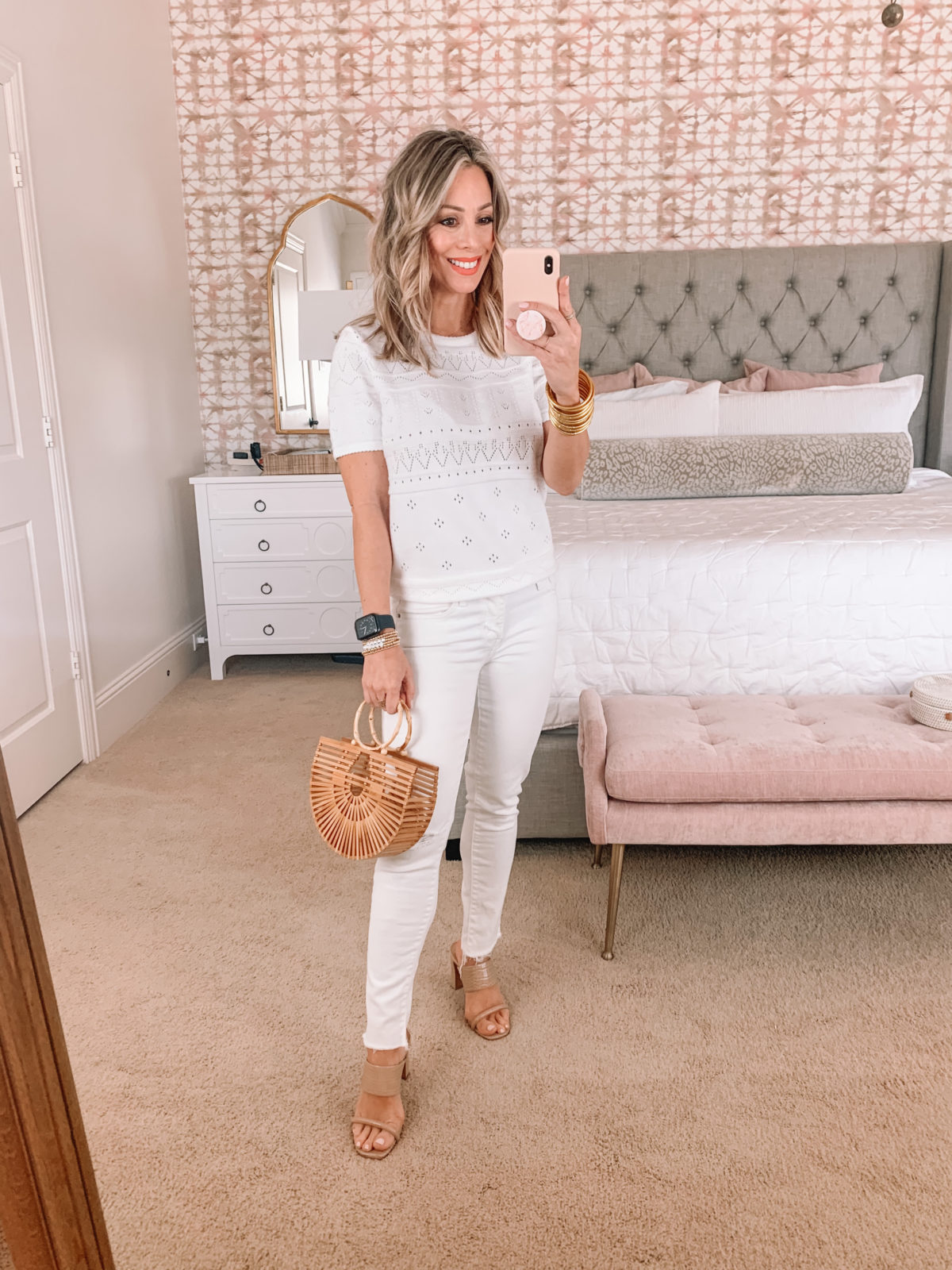 Amazon Fashion Faves, White Embroidered Top, White Jeans, Sandals, Bamboo Clutch