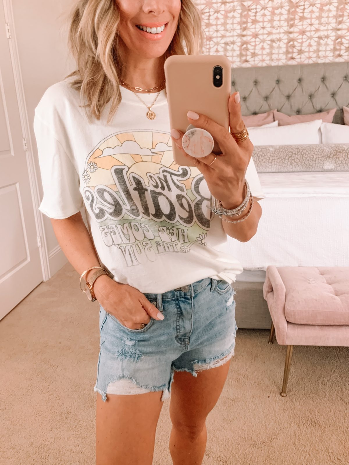 Walmart jean shorts and Beatles tee