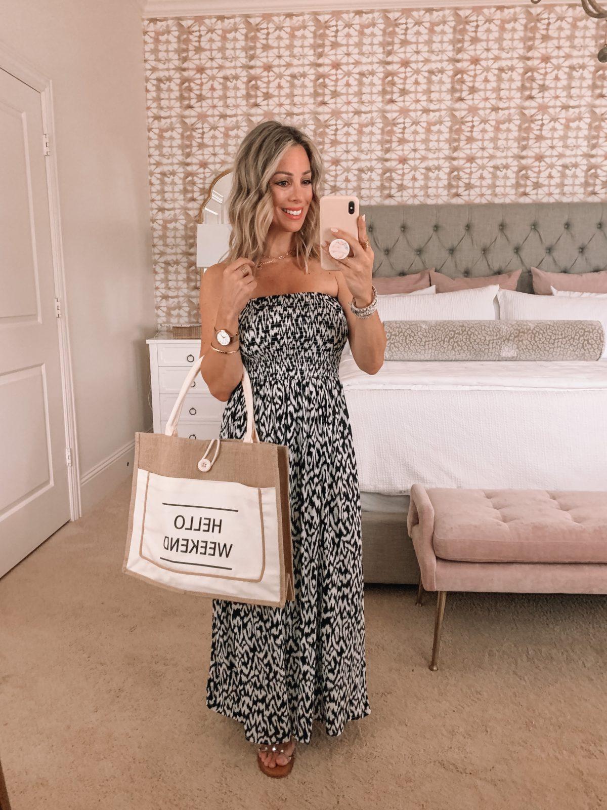 Smocked Maxi Dress, Weekend Tote Bag, Studded Sandals