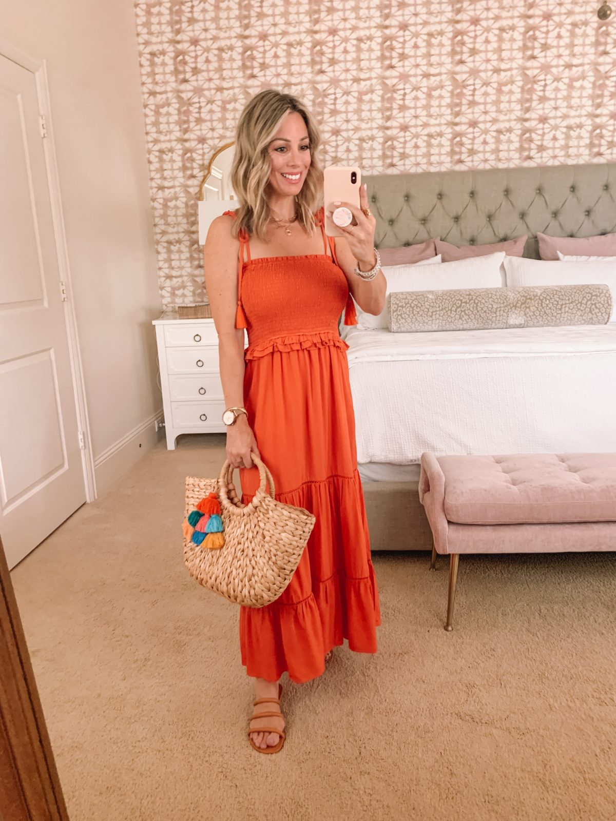 Orange Smocked Maxi Dress, Woven Bag