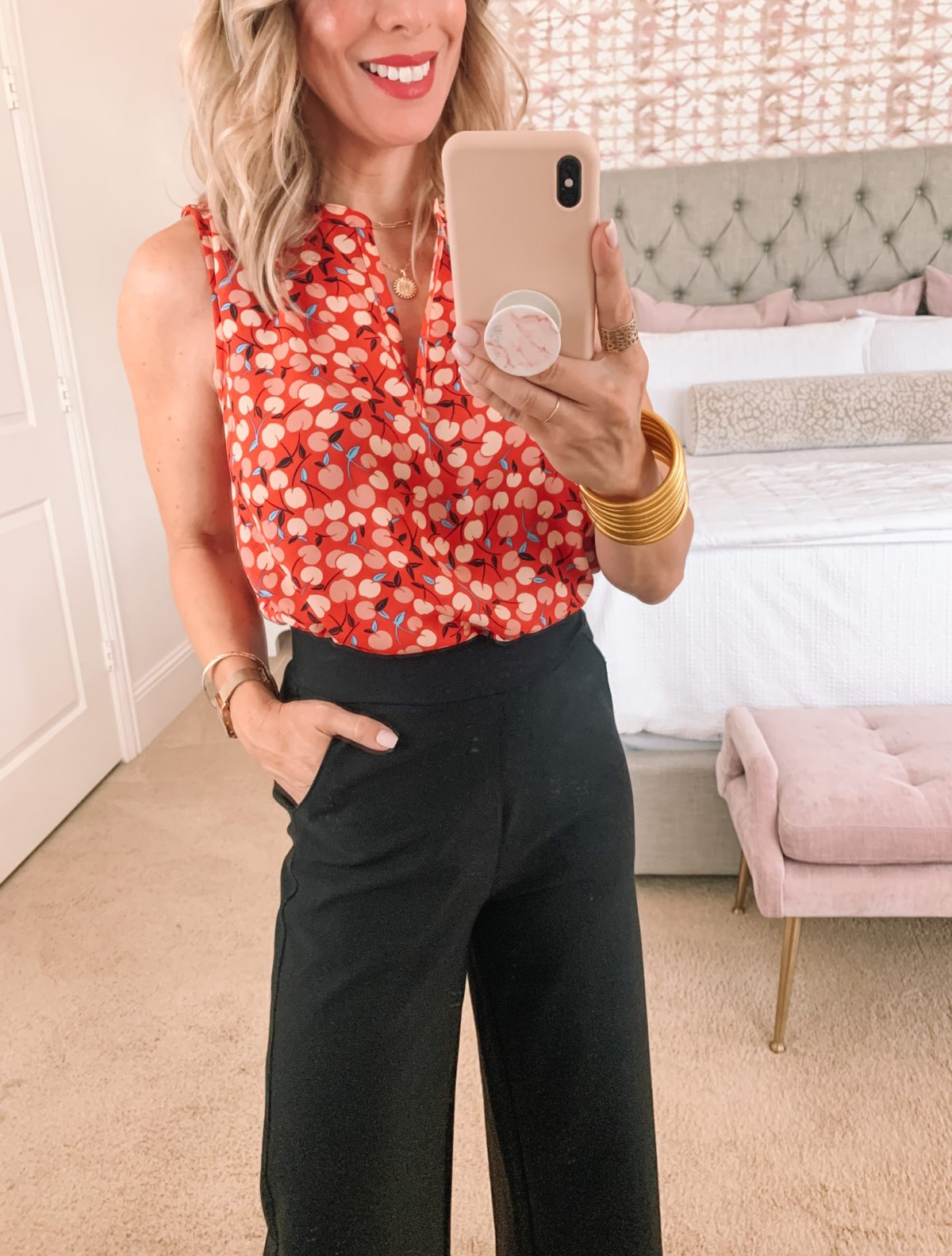 dot blouse and crop pants