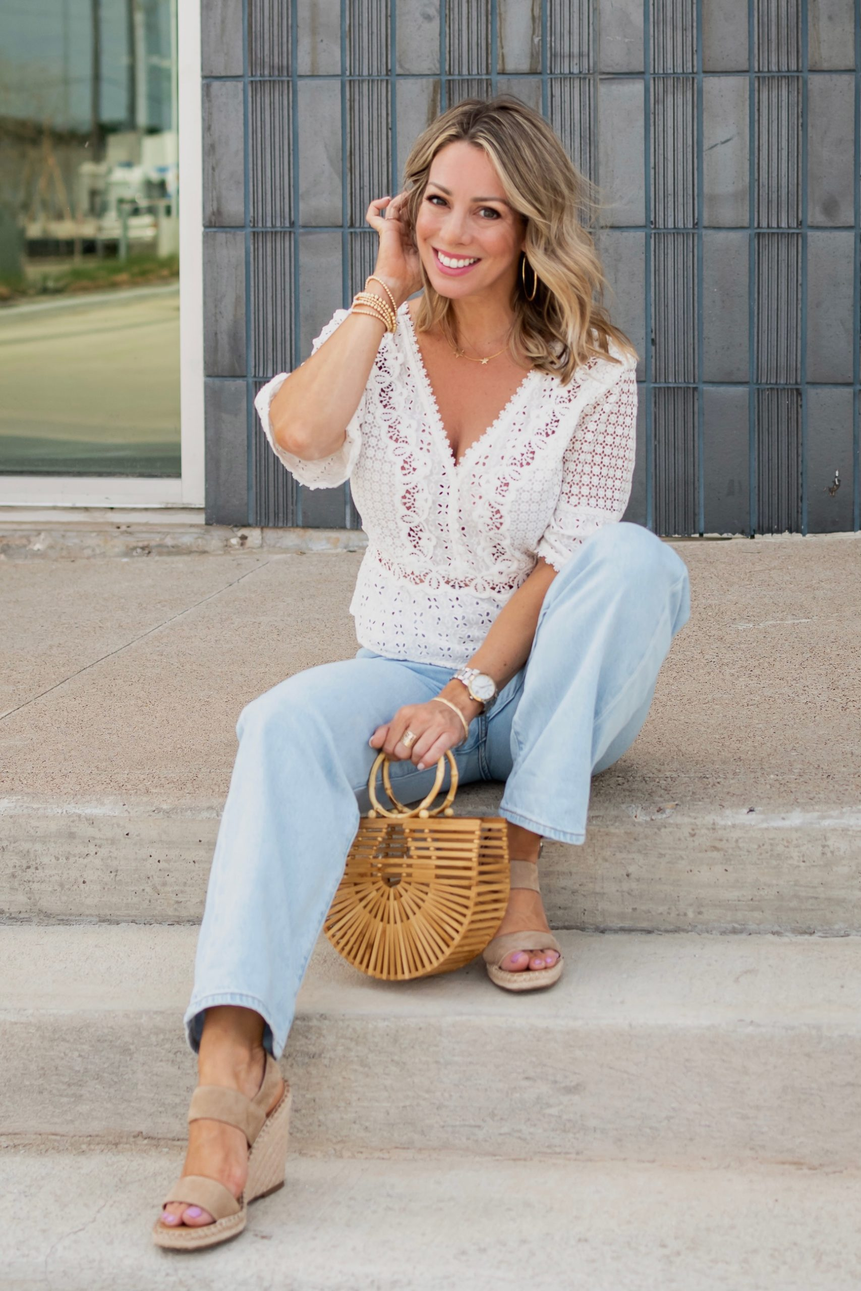 White crochet top and wide leg jeans