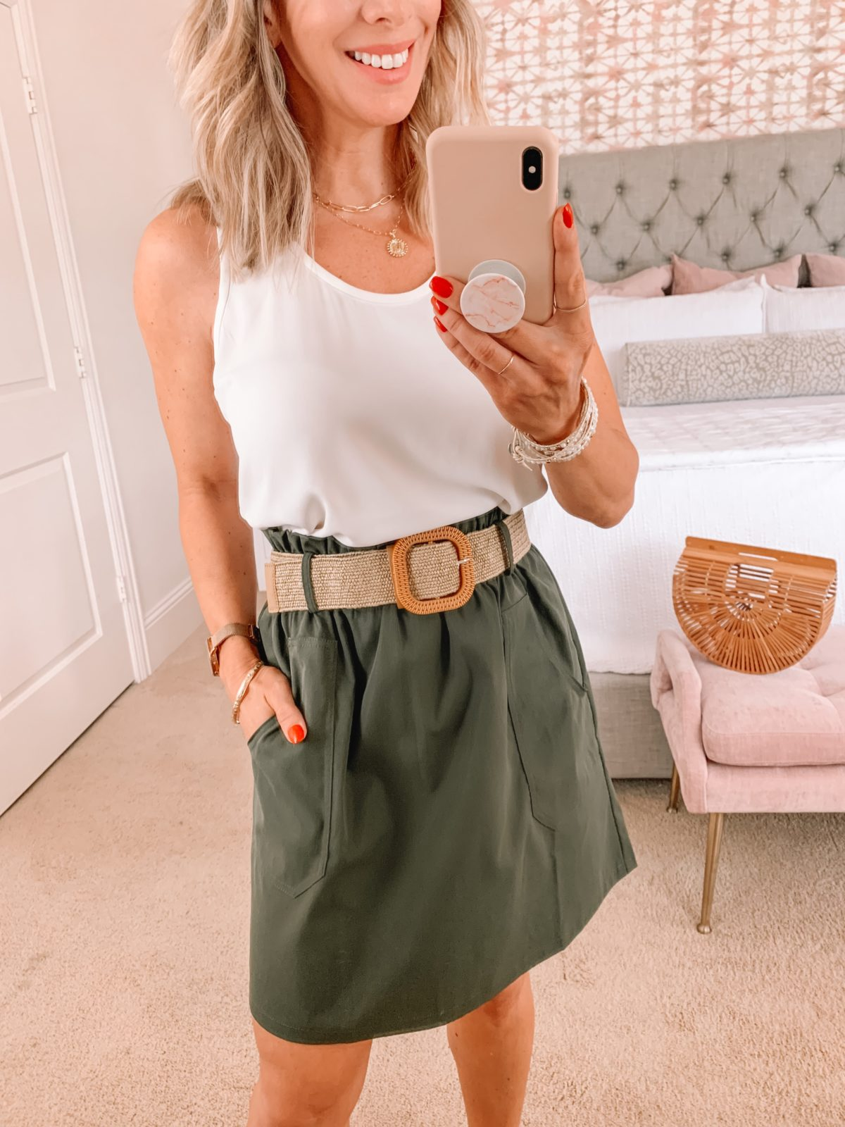 Amazon Fashion Faves, White Tank, Olive Skirt, Stretchy Belt, Bamboo Clutch, Sandals